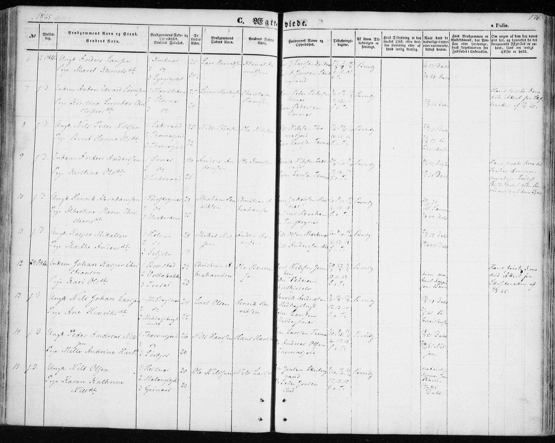 SATØ, Balsfjord sokneprestembete, Parish register (official) no. 3, 1856-1870, p. 176