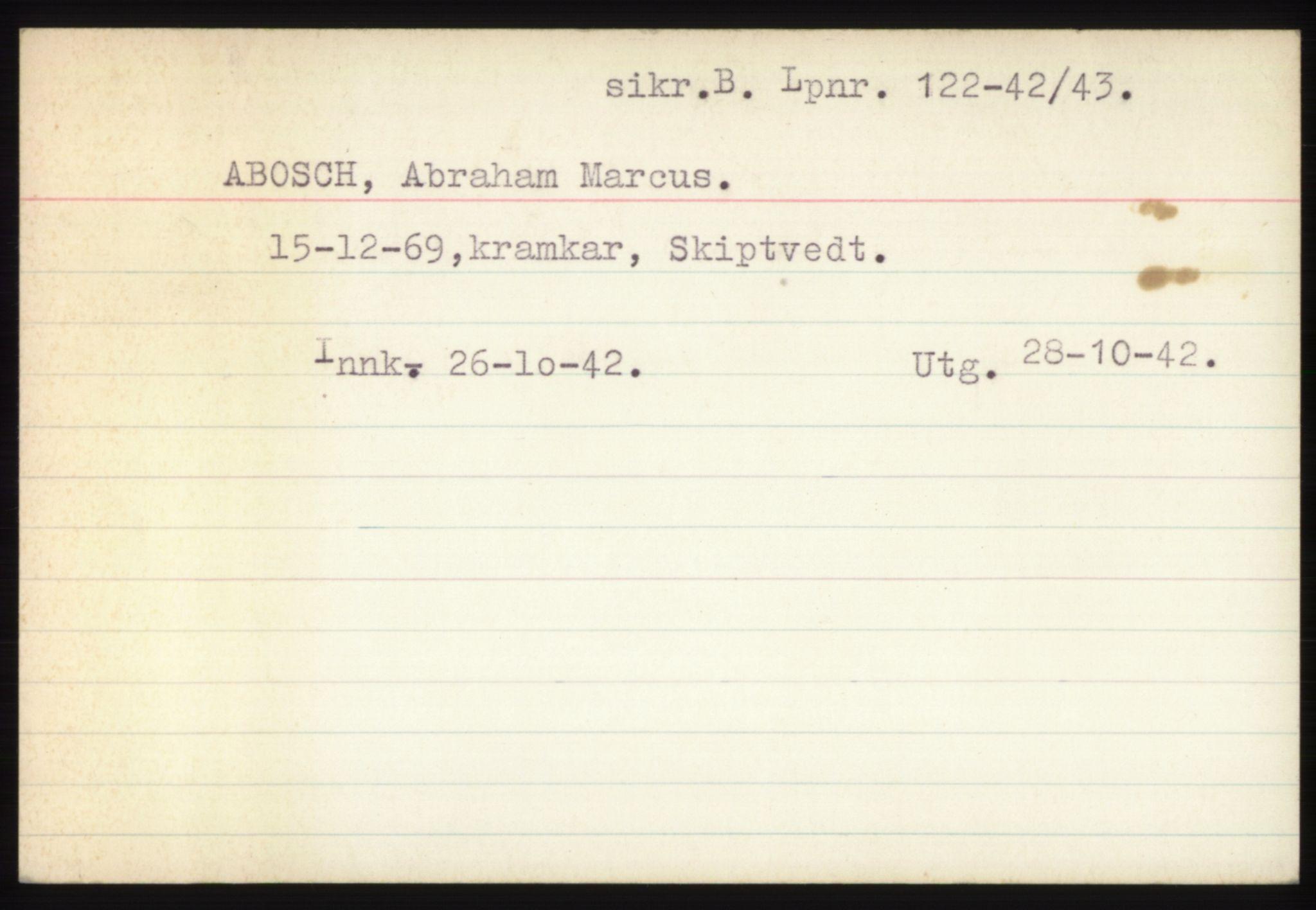 RA, Statspolitiet - Hovedkontoret / Osloavdelingen, C/Ck/Cke/L0002: Fangeregister A-F, 1941-1945, p. 2