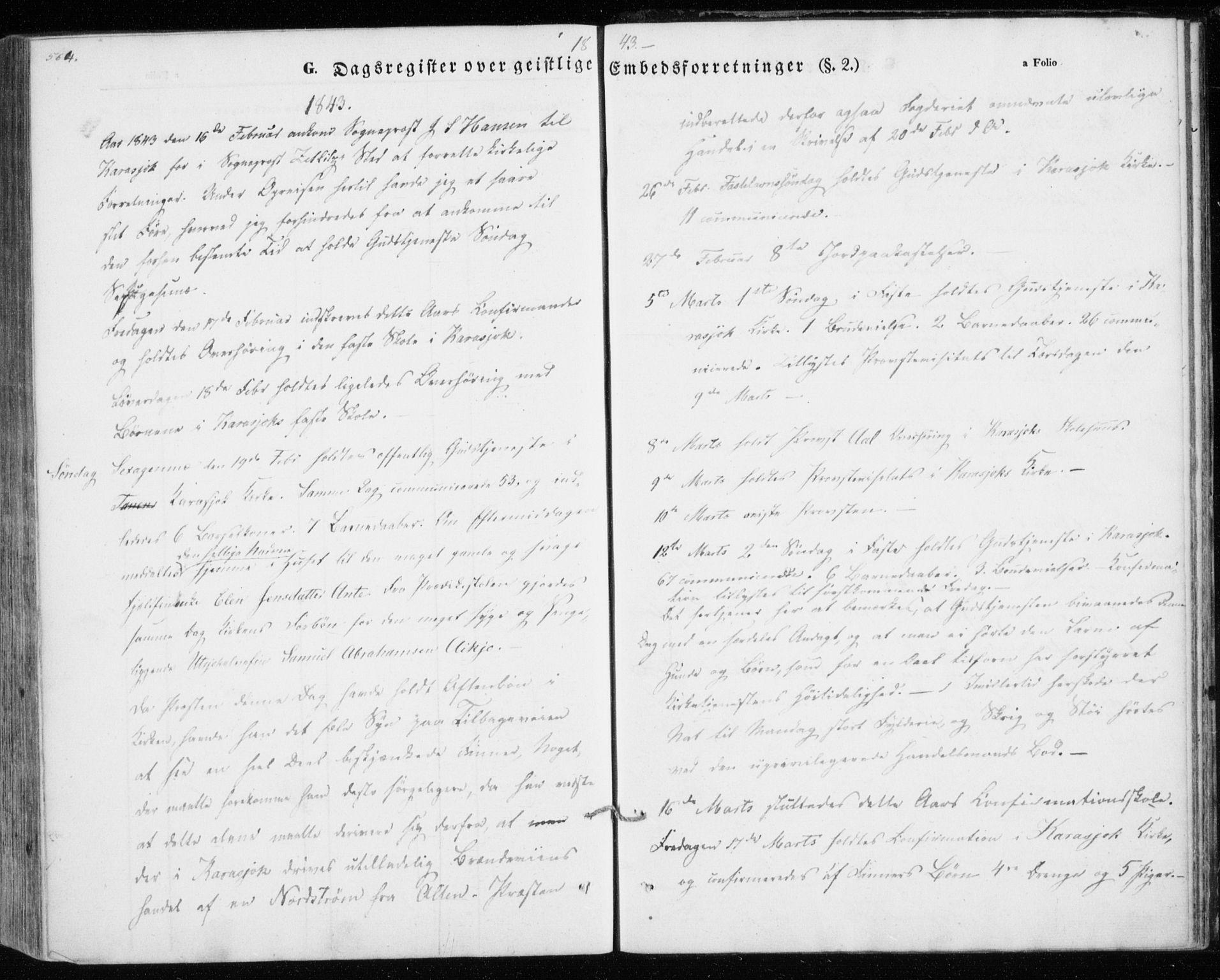 SATØ, Kistrand/Porsanger sokneprestembete, H/Ha/L0012.kirke: Parish register (official) no. 12, 1843-1871, p. 564-565