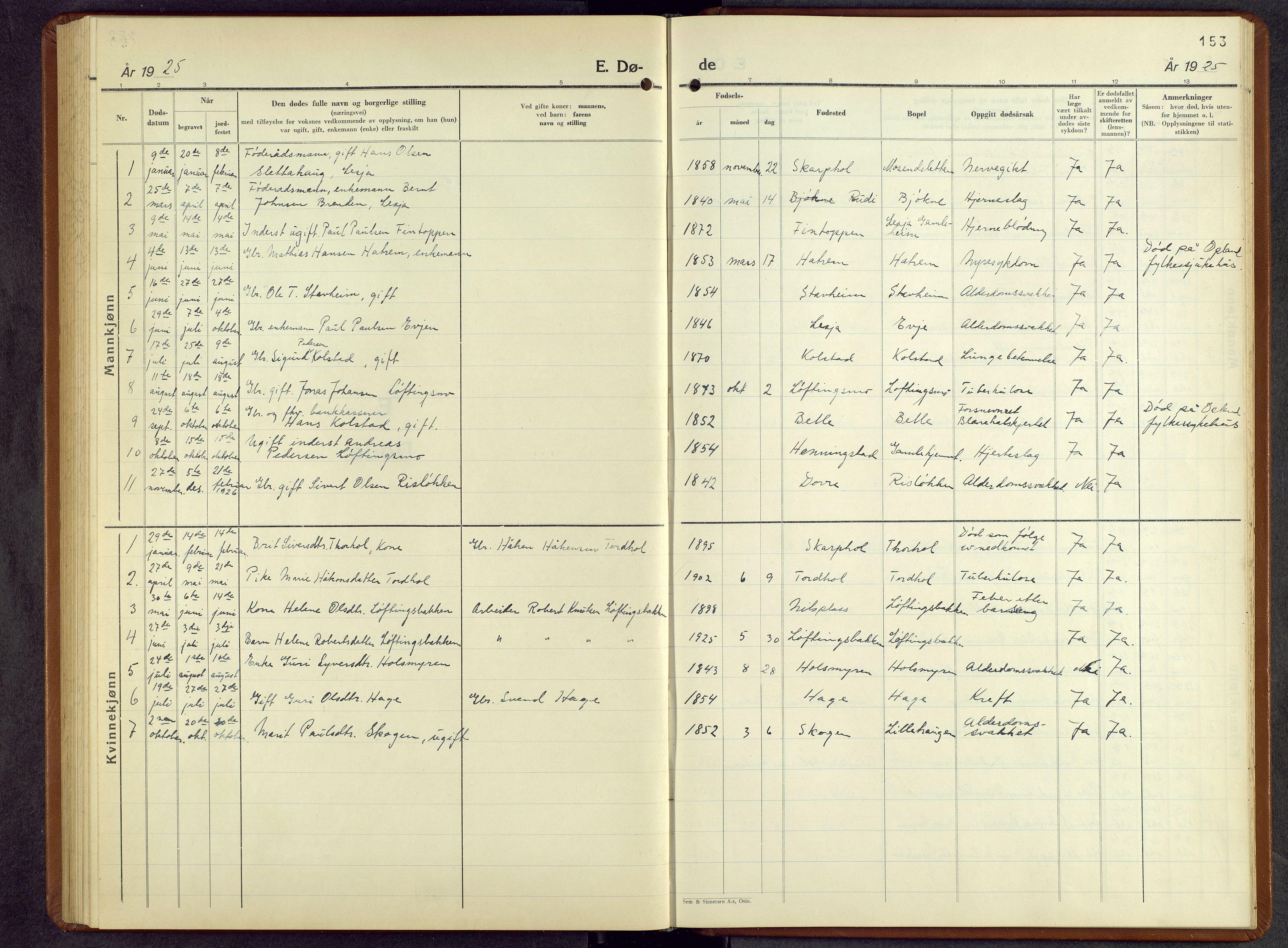 SAH, Lesja prestekontor, Parish register (copy) no. 10, 1925-1960, p. 153