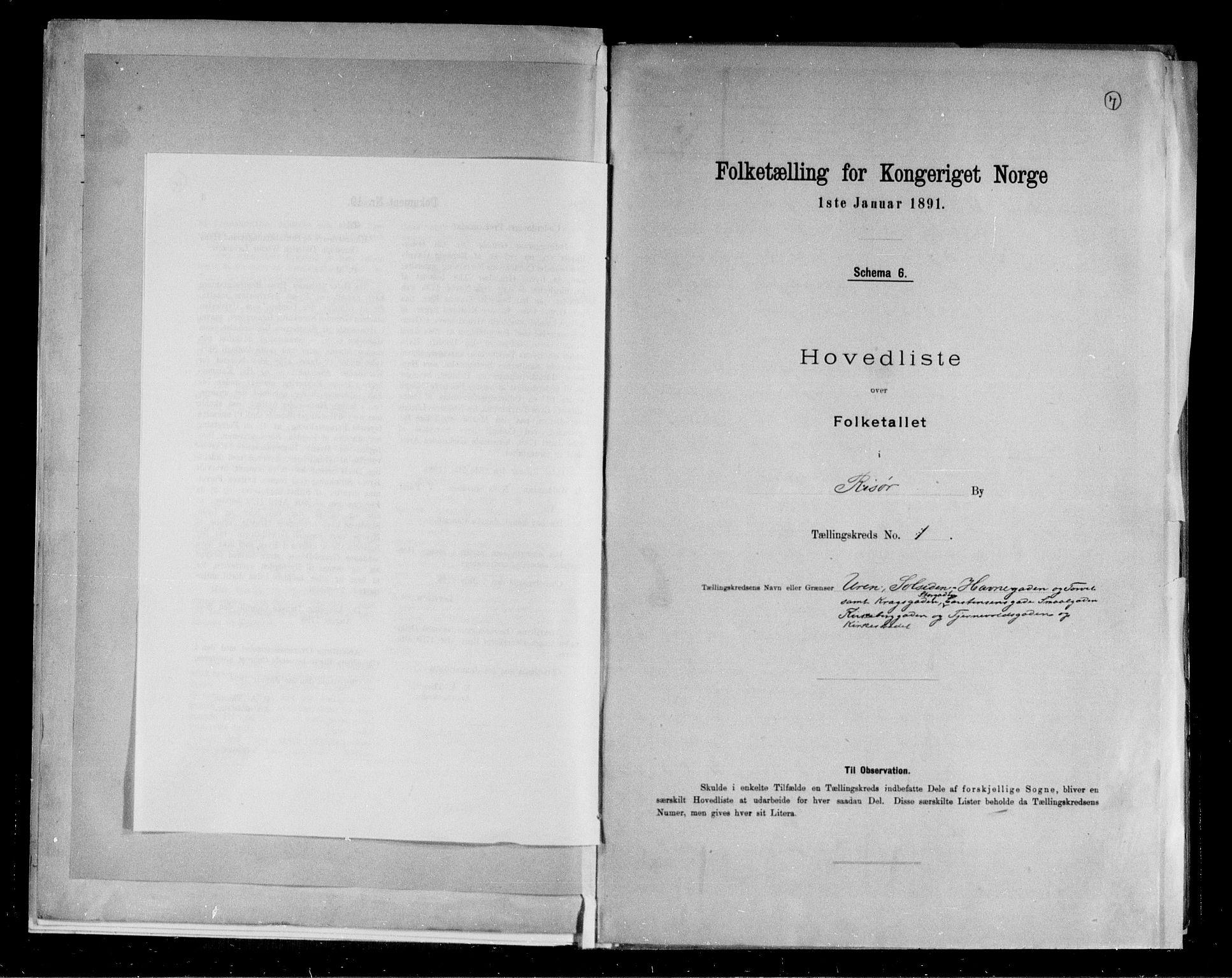 RA, 1891 census for 0901 Risør, 1891, p. 7