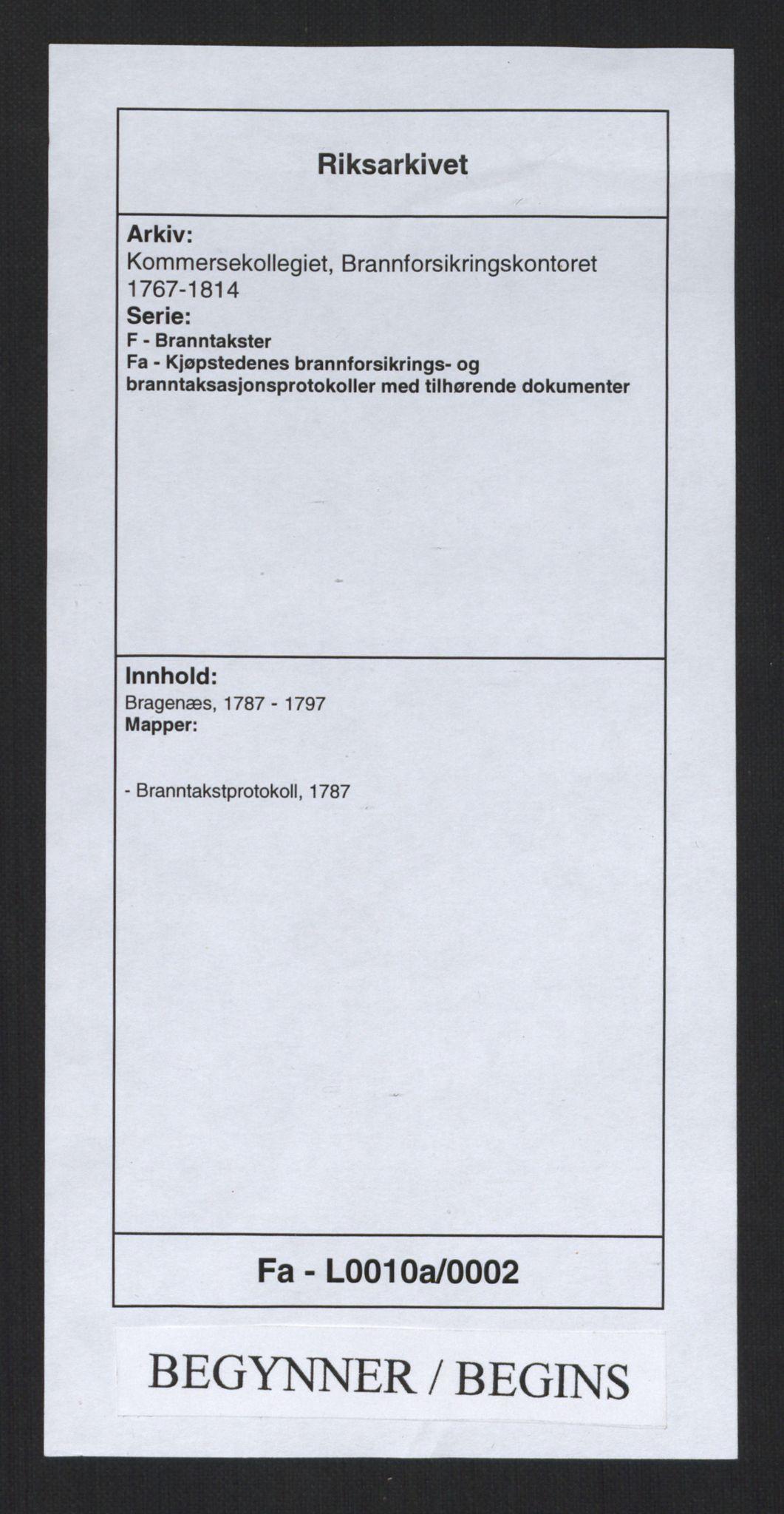 RA, Kommersekollegiet, Brannforsikringskontoret 1767-1814, F/Fa/L0010a: Bragernes, 1787