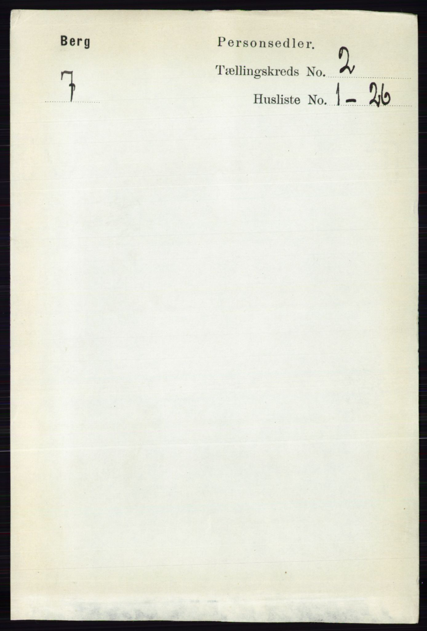 RA, 1891 census for 0116 Berg, 1891, p. 961