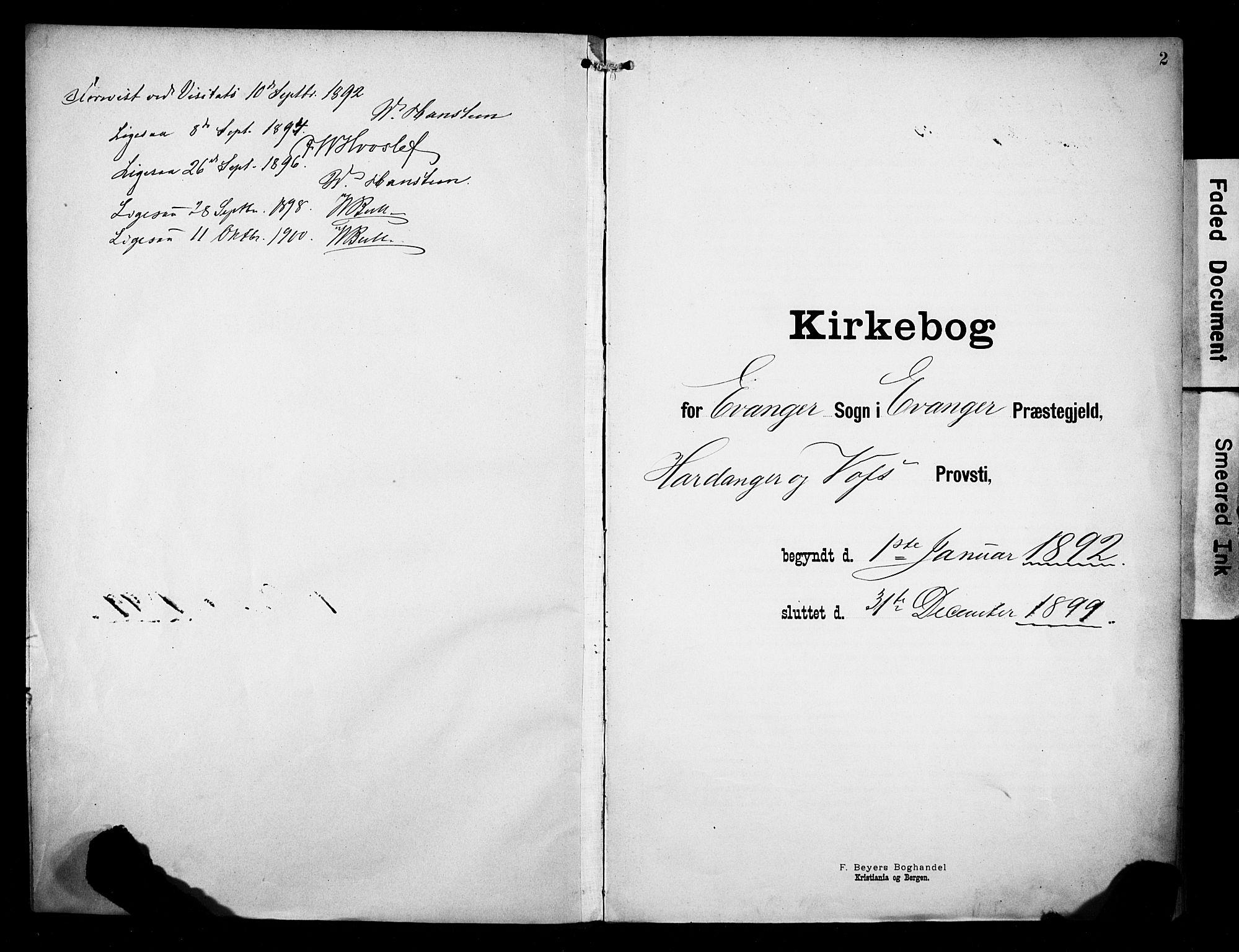 SAB, Evanger sokneprestembete*, Parish register (official) no. A 2, 1892-1899, p. 2