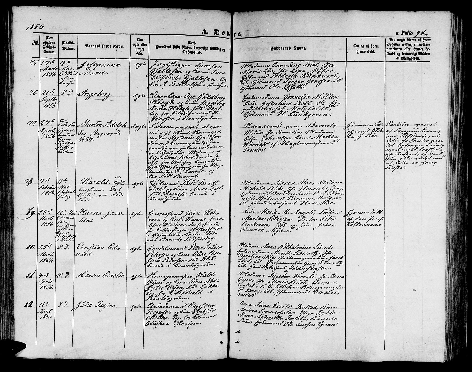 SAT, Ministerialprotokoller, klokkerbøker og fødselsregistre - Sør-Trøndelag, 602/L0138: Parish register (copy) no. 602C06, 1853-1858, p. 94