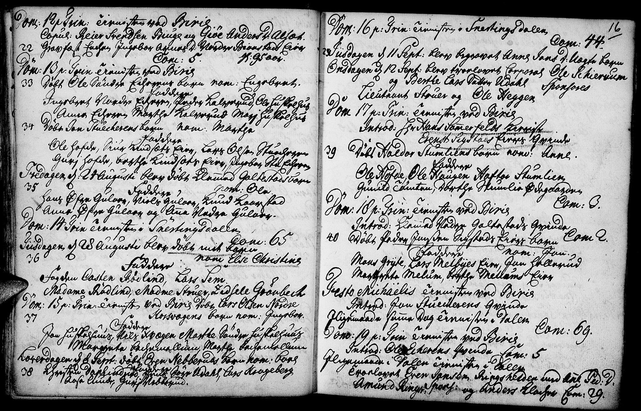 SAH, Biri prestekontor, Parish register (official) no. 1, 1730-1754, p. 16