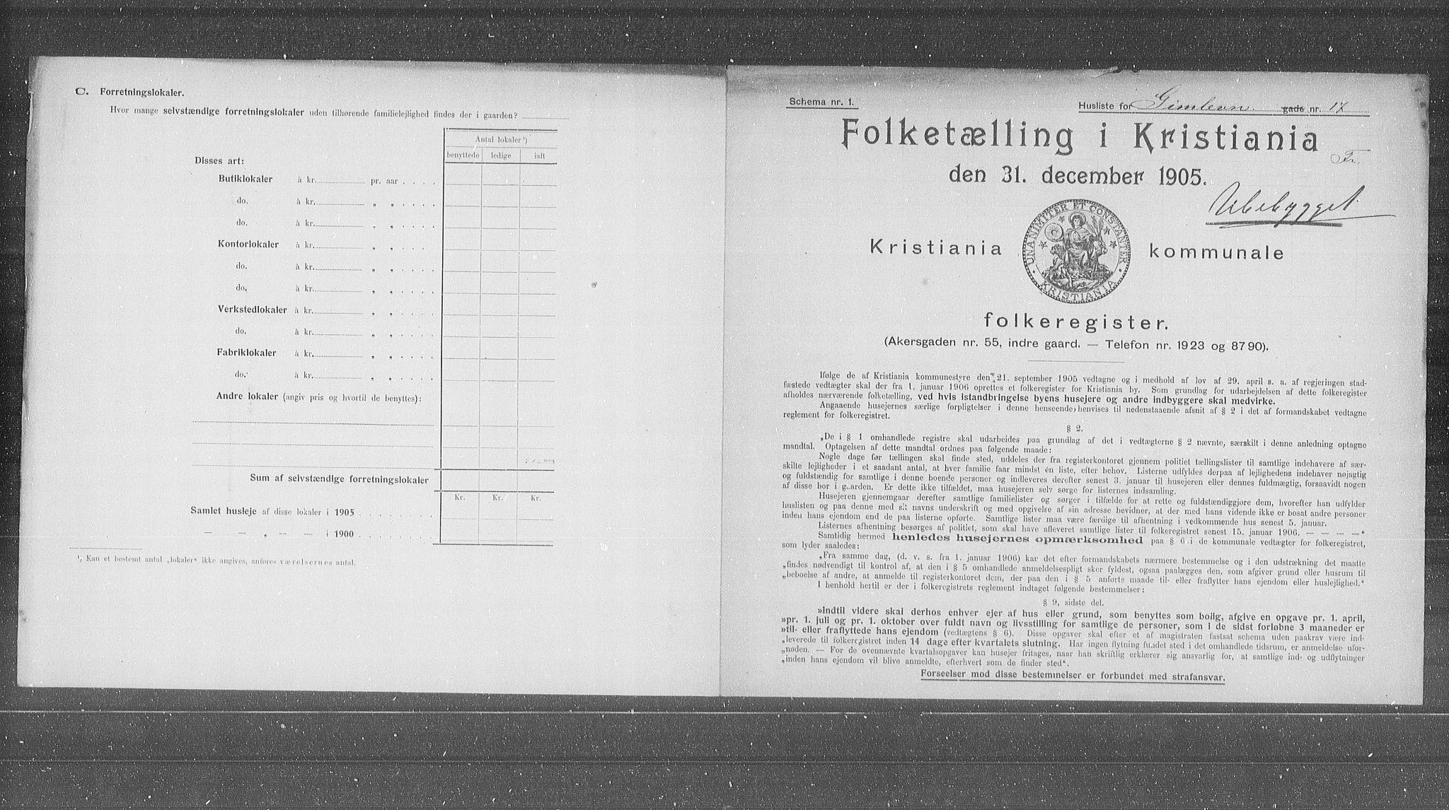 OBA, Municipal Census 1905 for Kristiania, 1905, p. 15030