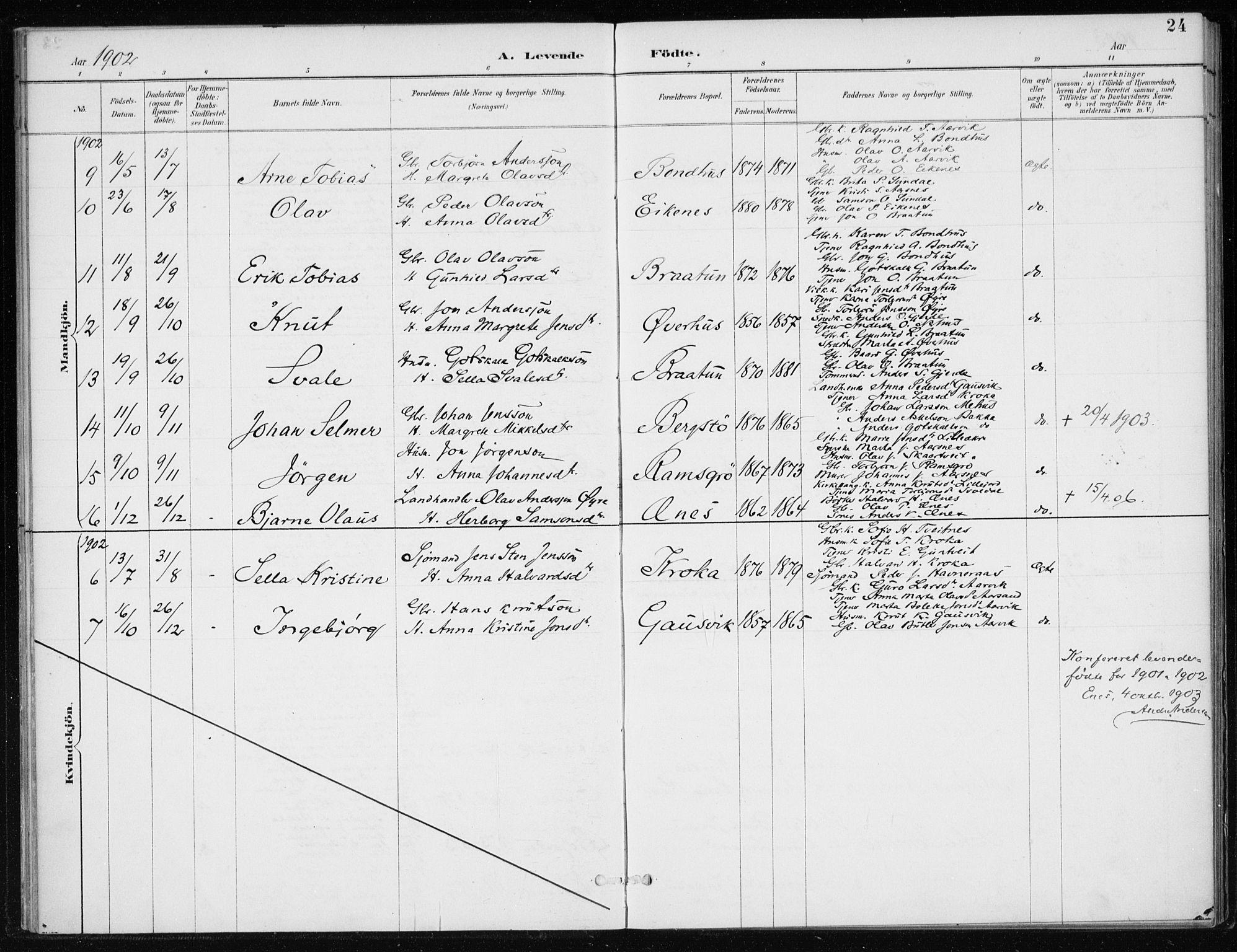 SAB, Kvinnherad Sokneprestembete, H/Haa: Parish register (official) no. F 1, 1887-1912, p. 24