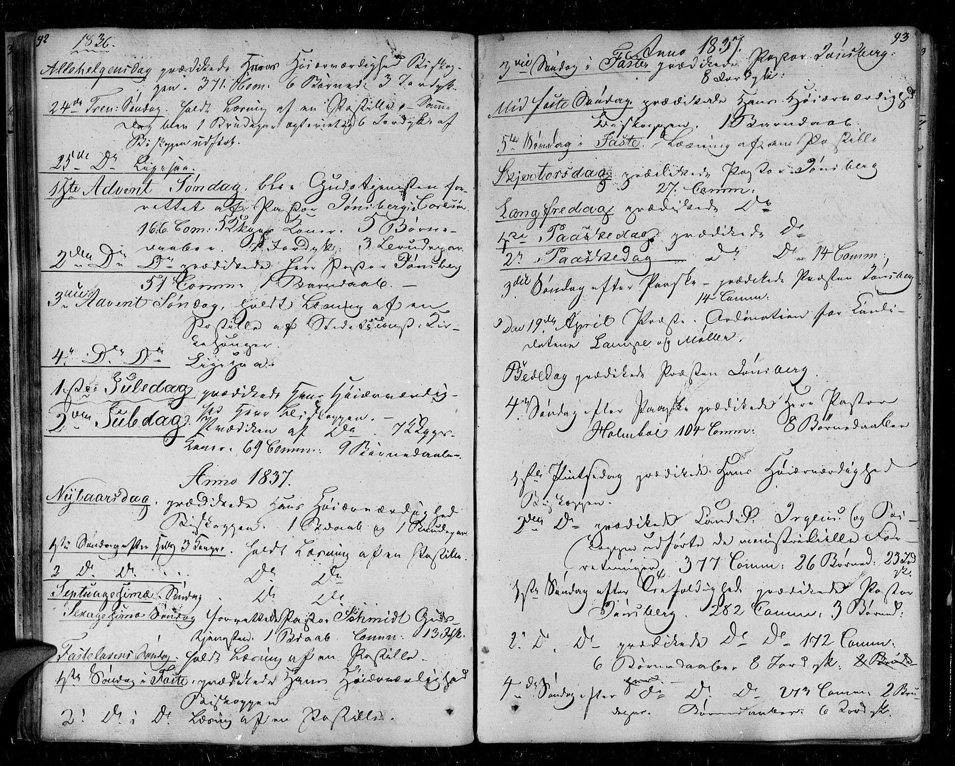 SATØ, Tromsø sokneprestkontor/stiftsprosti/domprosti, G/Ga/L0008kirke: Parish register (official) no. 8, 1829-1837, p. 92-93