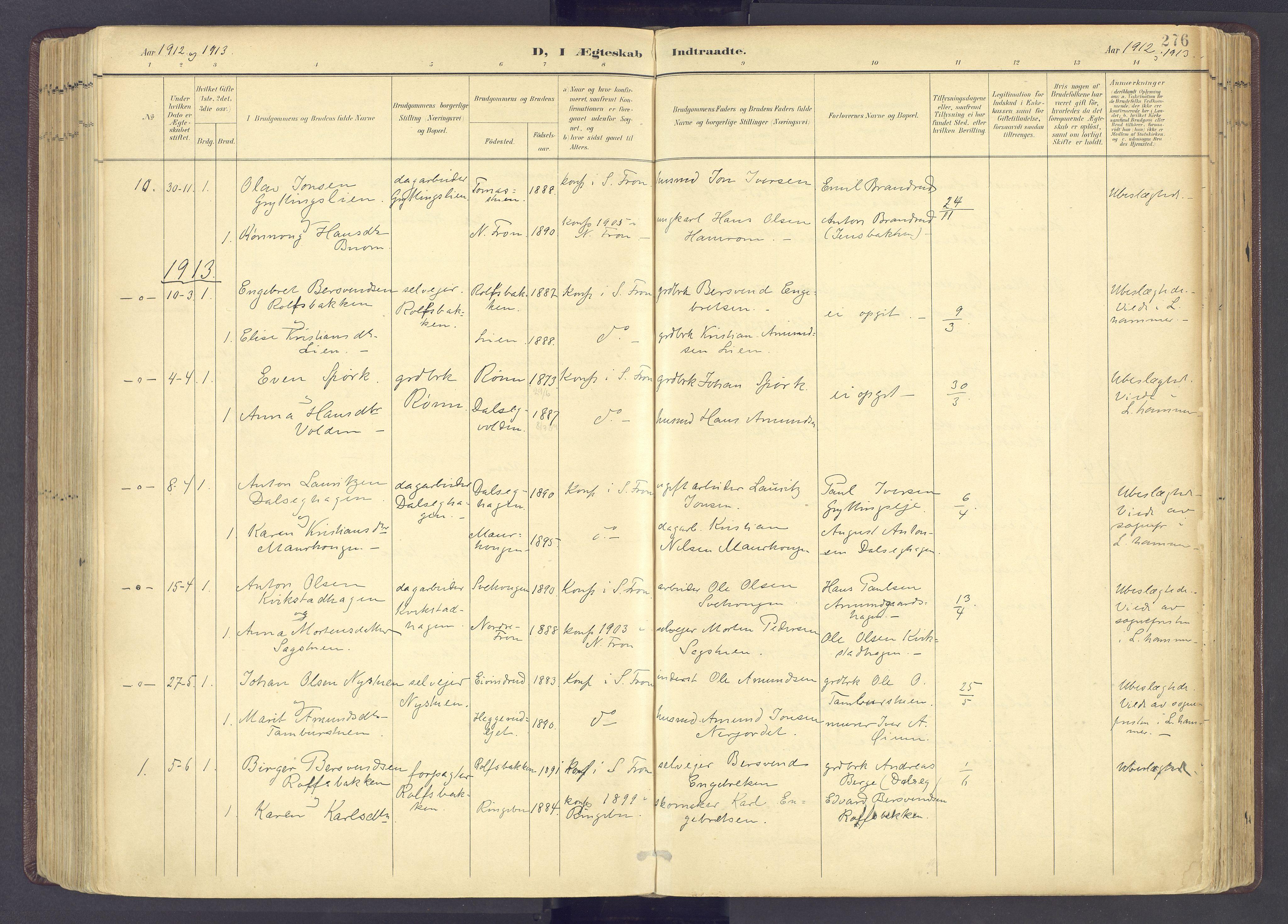 SAH, Sør-Fron prestekontor, H/Ha/Haa/L0004: Parish register (official) no. 4, 1898-1919, p. 276