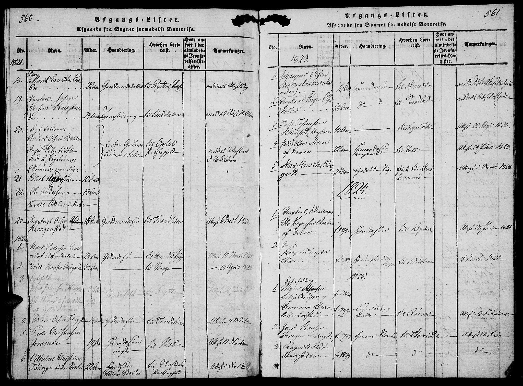 SAH, Lesja prestekontor, Parish register (official) no. 4, 1820-1829, p. 560-561