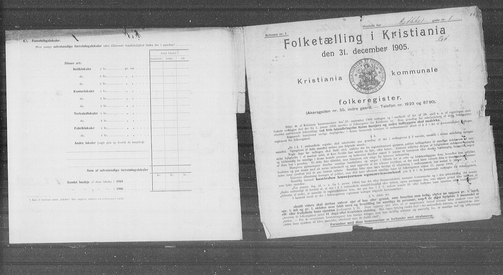 OBA, Municipal Census 1905 for Kristiania, 1905, p. 42939