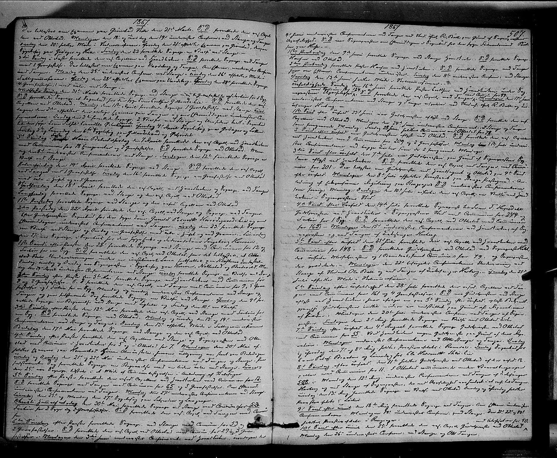 SAH, Stange prestekontor, K/L0013: Parish register (official) no. 13, 1862-1879, p. 507