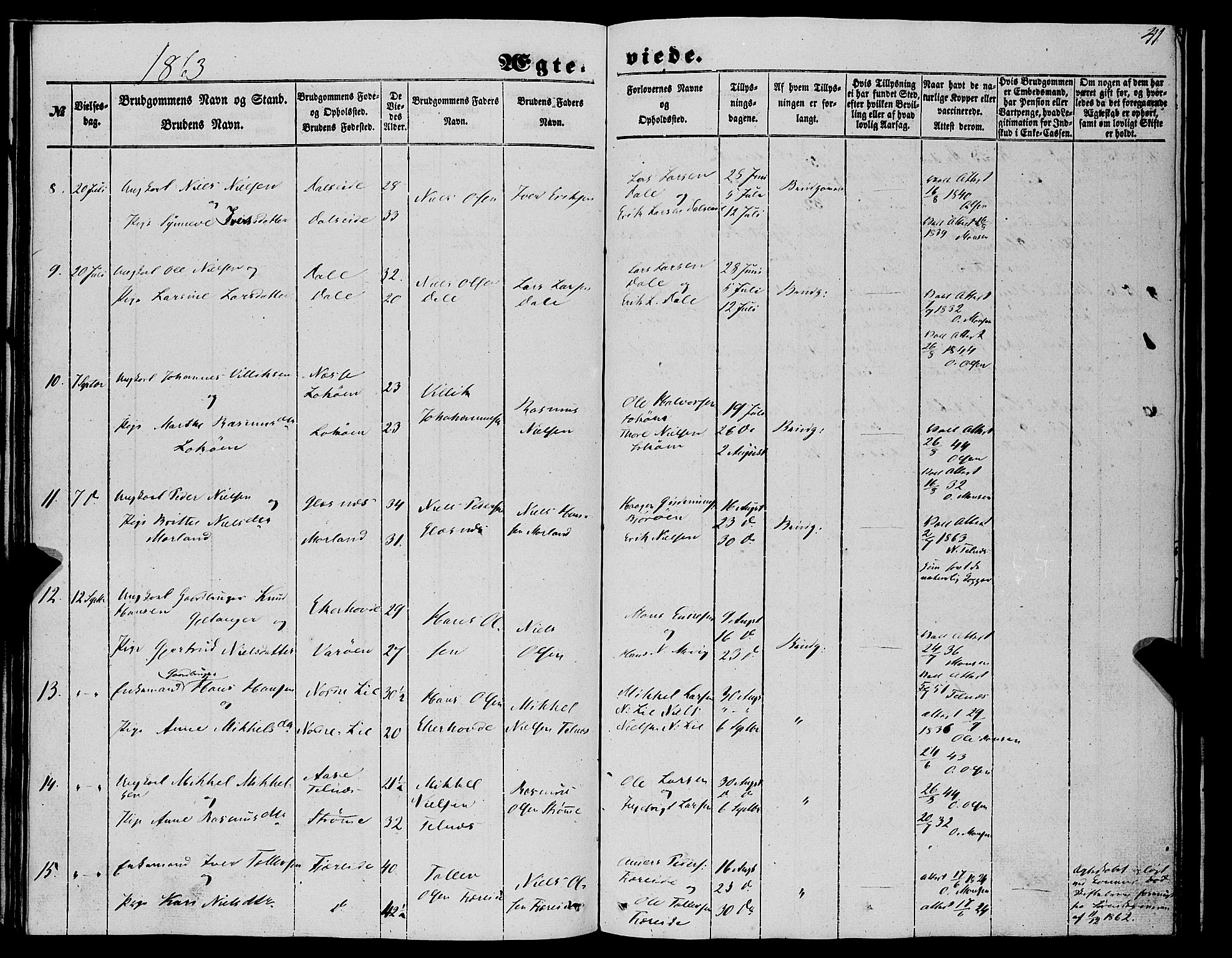 SAB, Fjell Sokneprestembete, H/Haa: Parish register (official) no. A 6, 1849-1877, p. 41