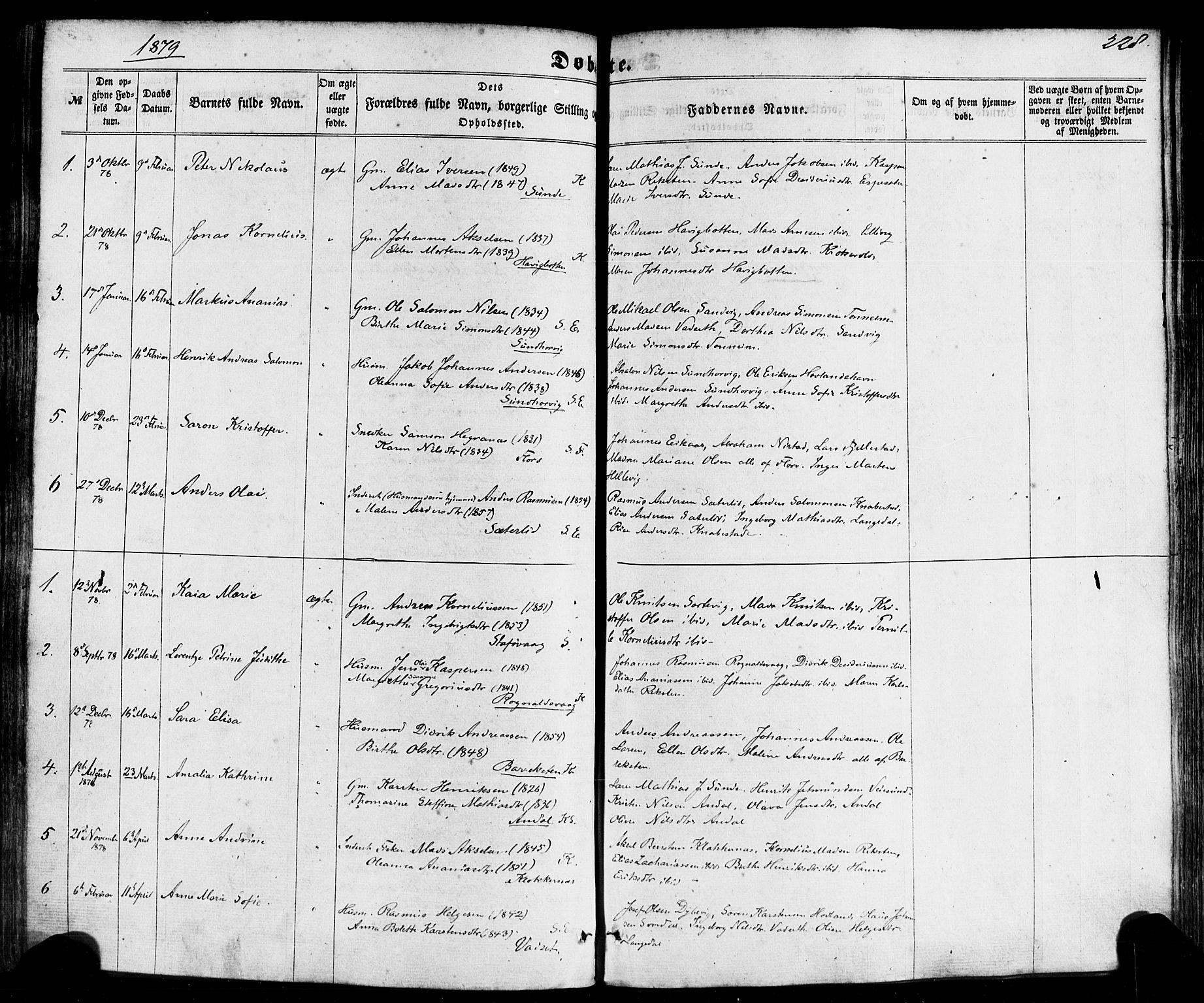 SAB, Kinn sokneprestembete, H/Haa/Haaa/L0006: Parish register (official) no. A 6, 1857-1885, p. 228
