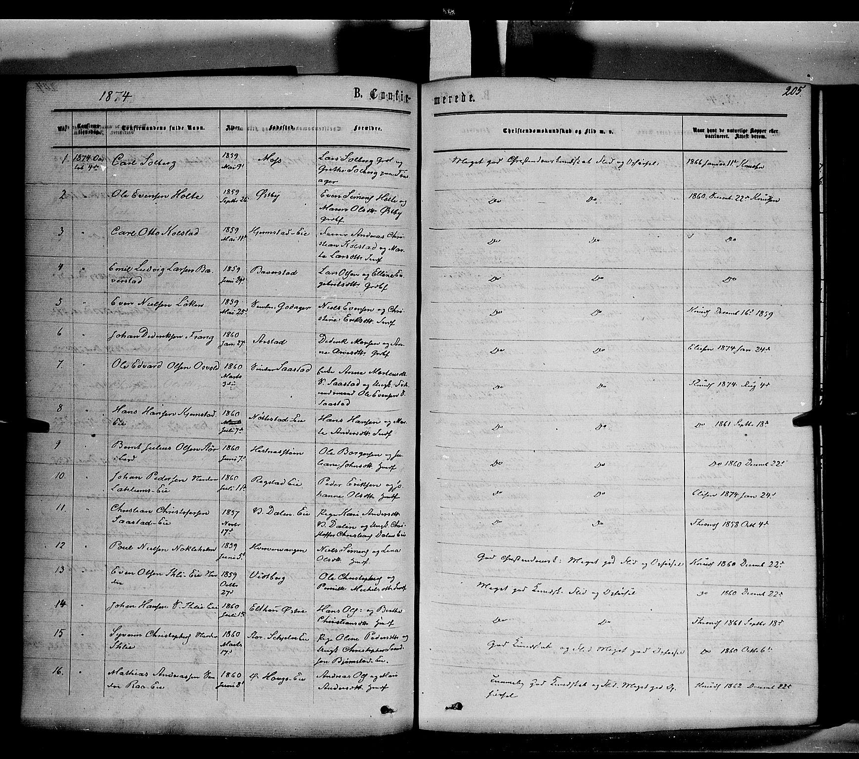 SAH, Stange prestekontor, K/L0013: Parish register (official) no. 13, 1862-1879, p. 205
