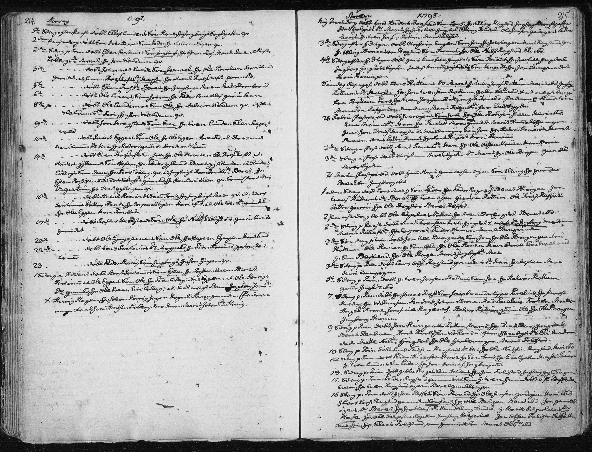 SAT, Ministerialprotokoller, klokkerbøker og fødselsregistre - Sør-Trøndelag, 687/L0992: Parish register (official) no. 687A03 /1, 1788-1815, p. 214-215