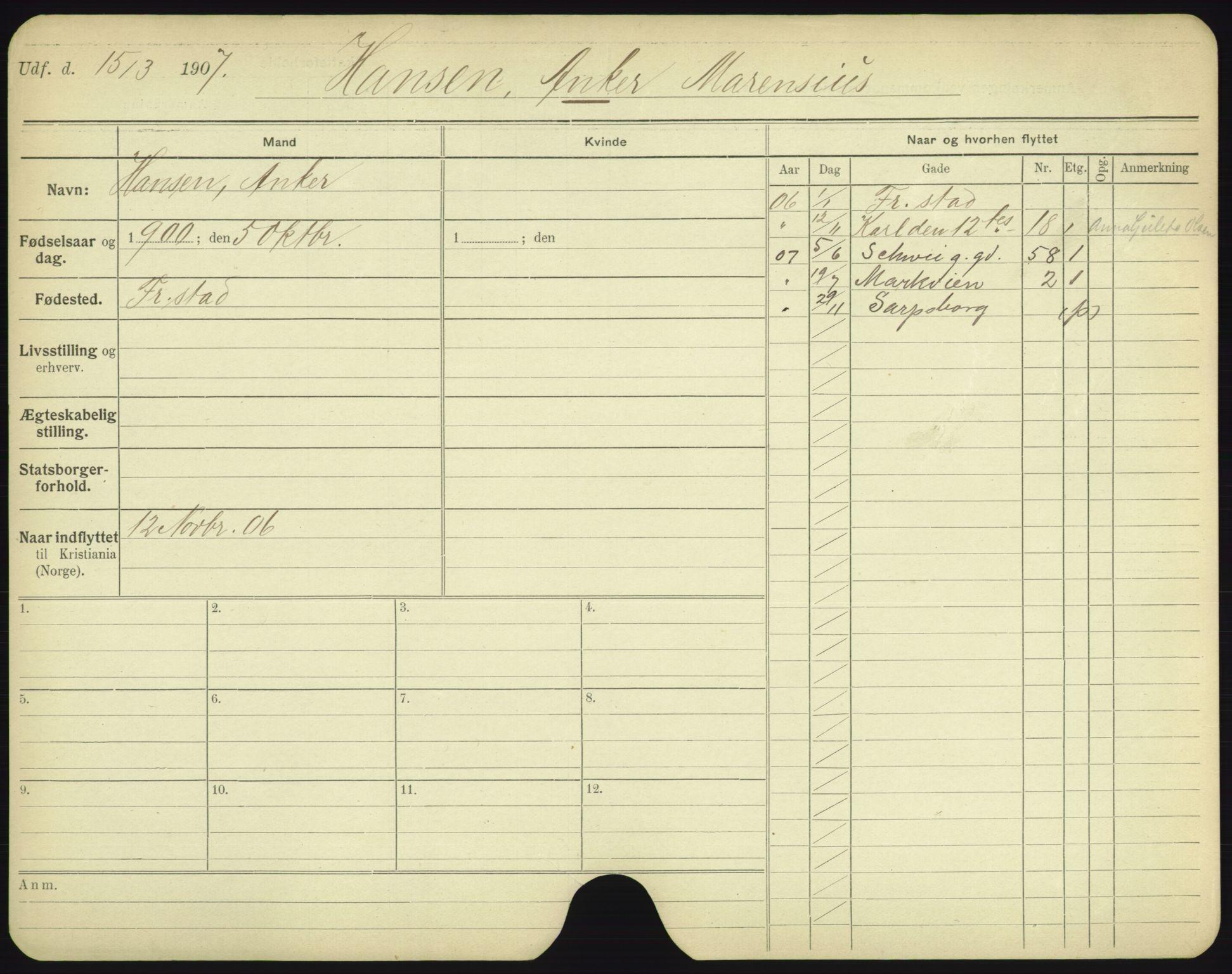 SAO, Oslo folkeregister, Registerkort, F/Fa/Fac/L0003: Menn, 1906-1914, p. 1226a