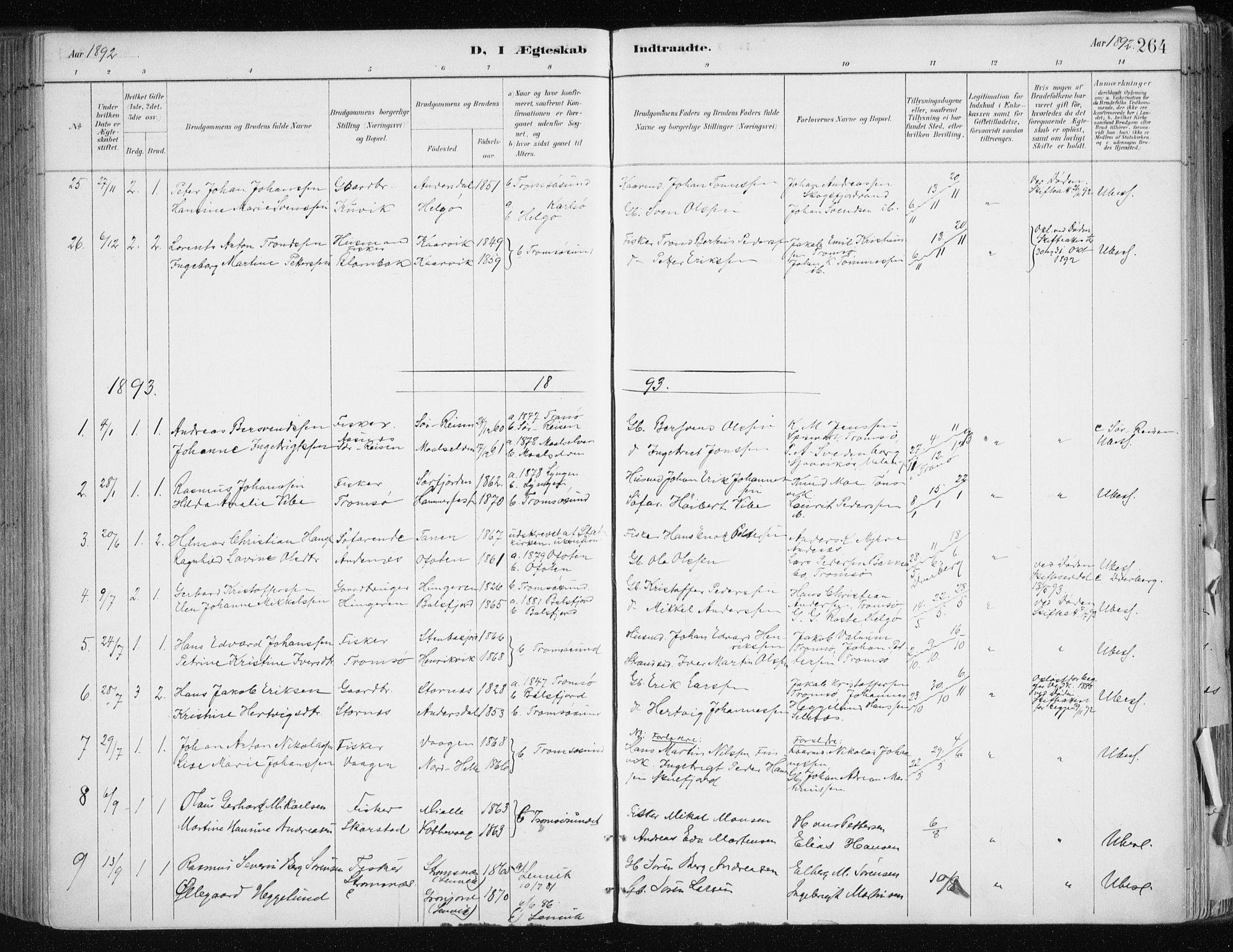 SATØ, Tromsøysund sokneprestkontor, G/Ga/L0005kirke: Parish register (official) no. 5, 1888-1896, p. 264