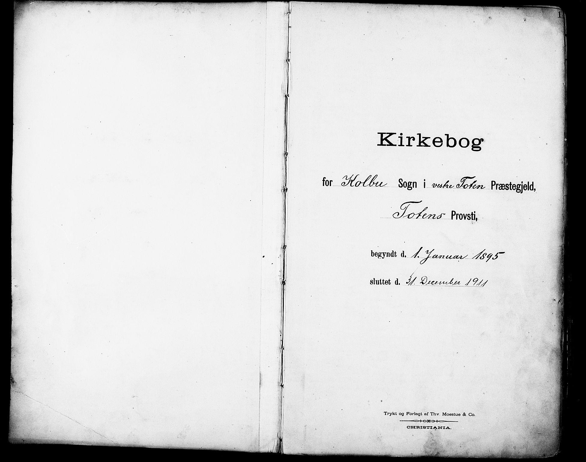 SAH, Vestre Toten prestekontor, H/Ha/Haa/L0013: Parish register (official) no. 13, 1895-1911, p. 1