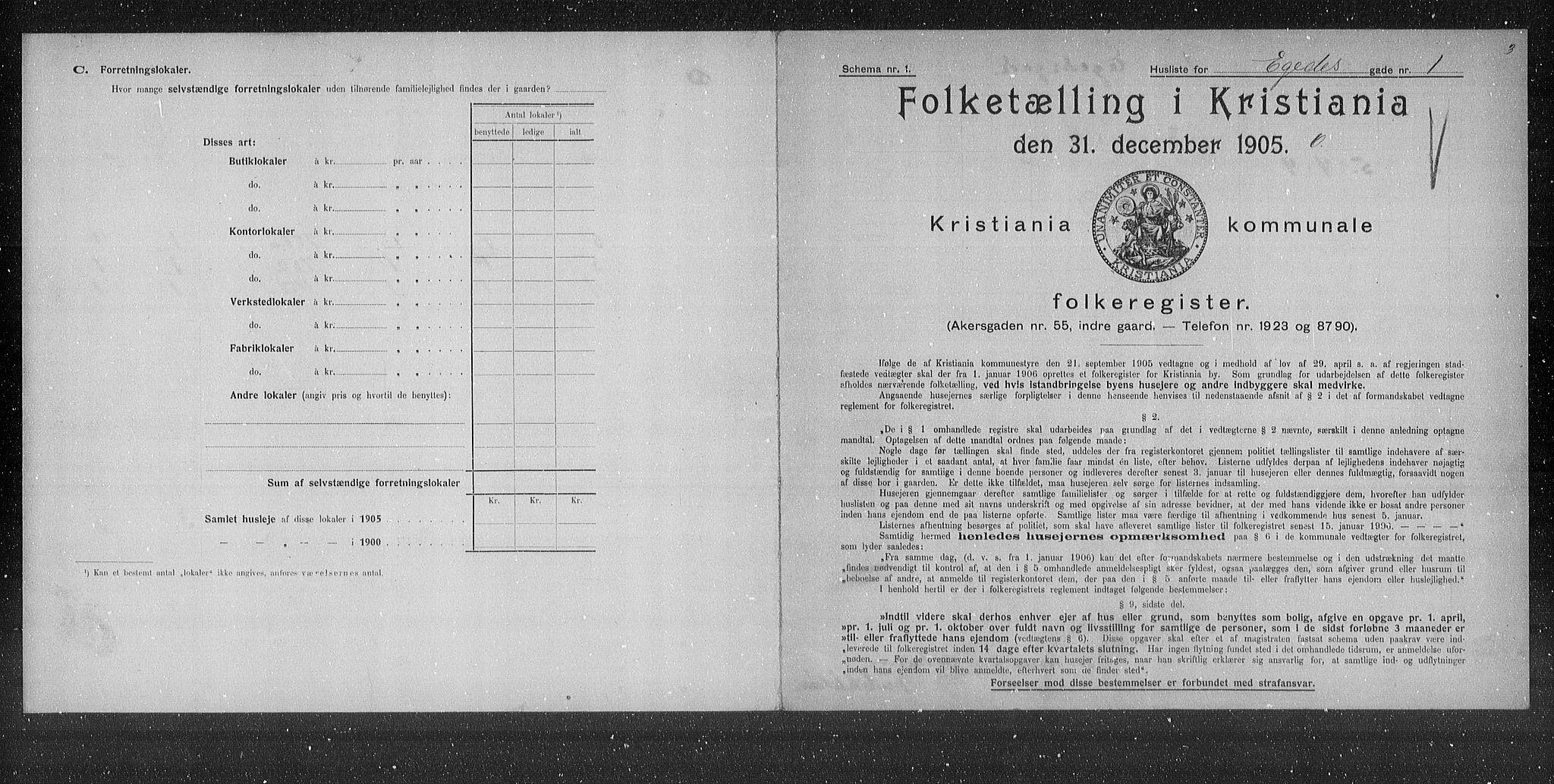 OBA, Municipal Census 1905 for Kristiania, 1905, p. 9786