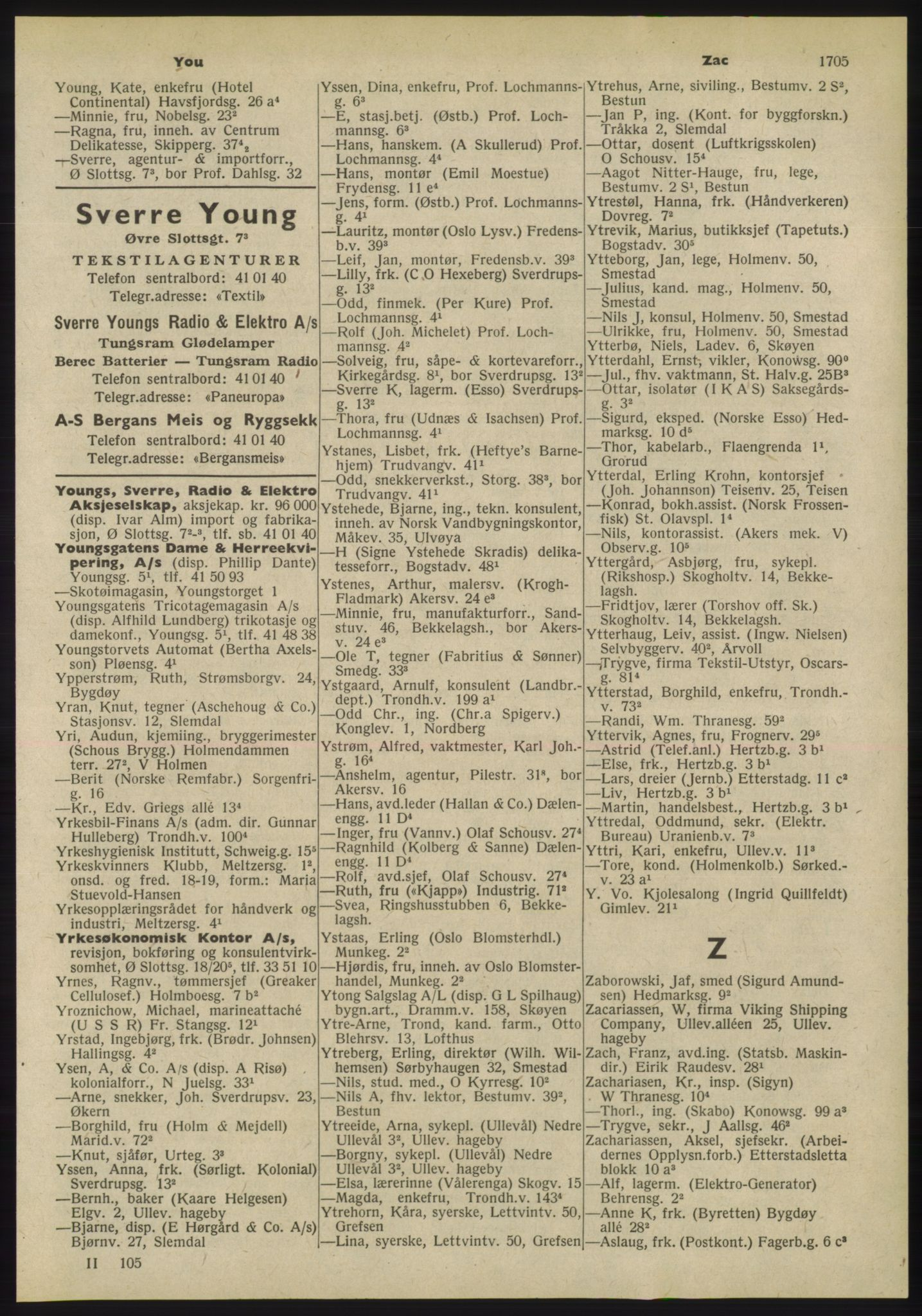 PUBL, Kristiania/Oslo adressebok, 1955, p. 1705