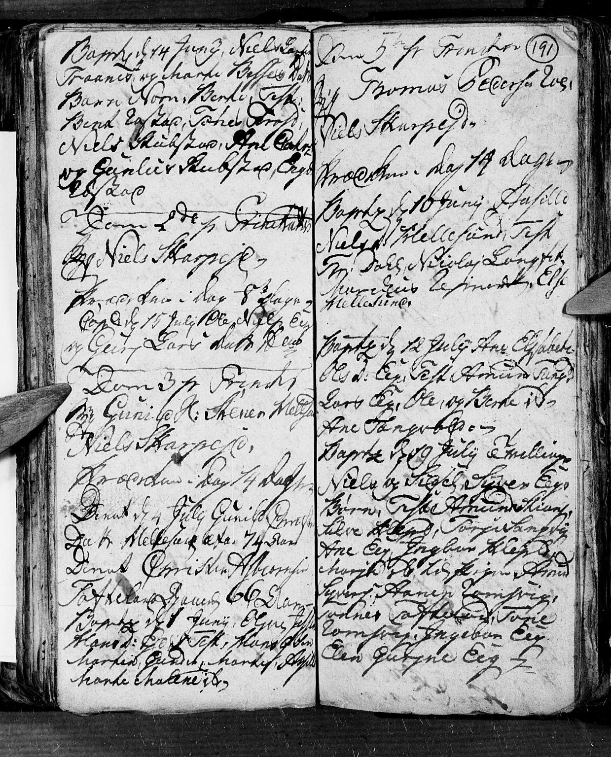 SAK, Søgne sokneprestkontor, F/Fb/Fbb/L0001: Parish register (copy) no. B 1, 1779-1802, p. 191