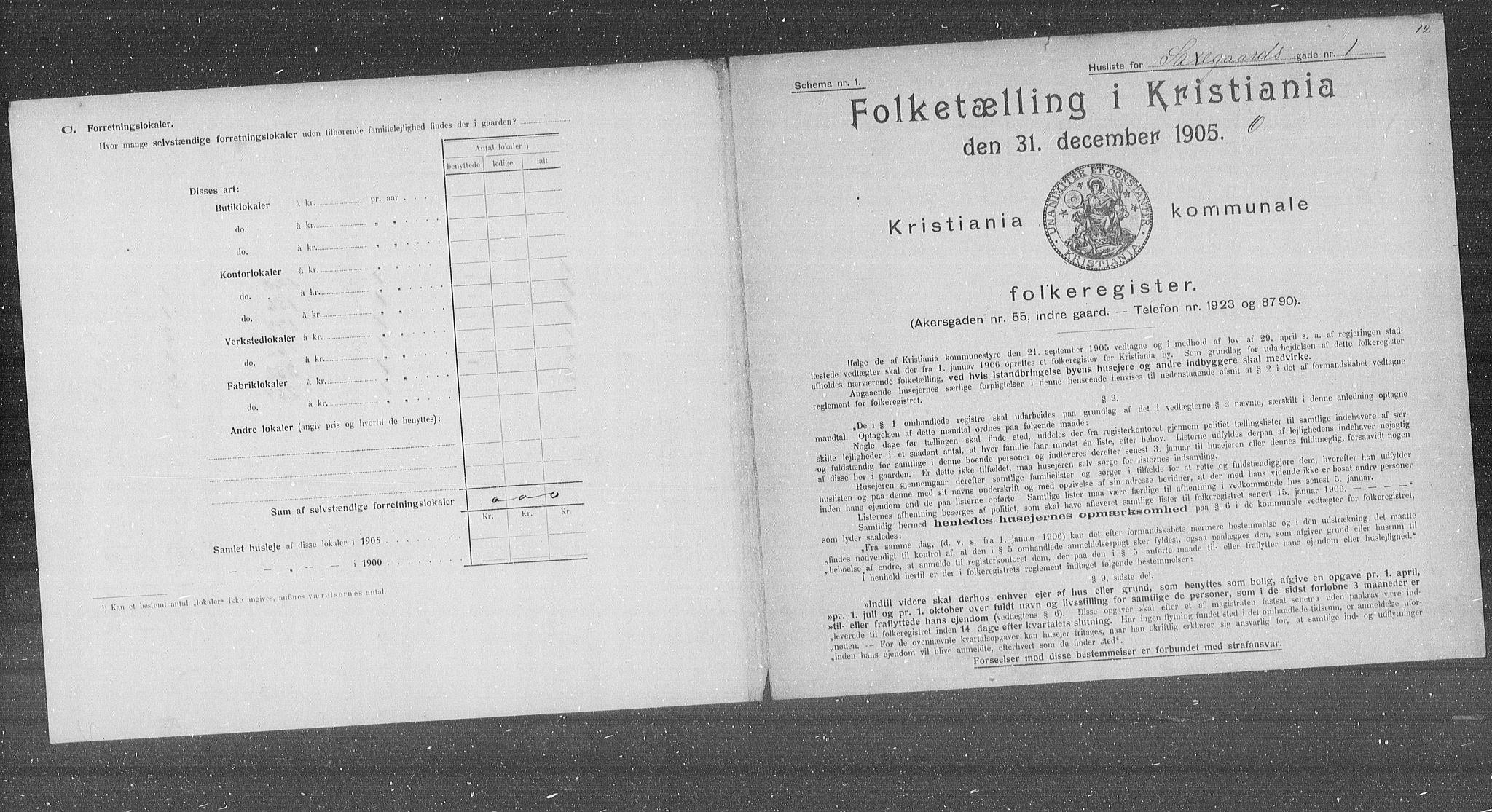 OBA, Municipal Census 1905 for Kristiania, 1905, p. 46431