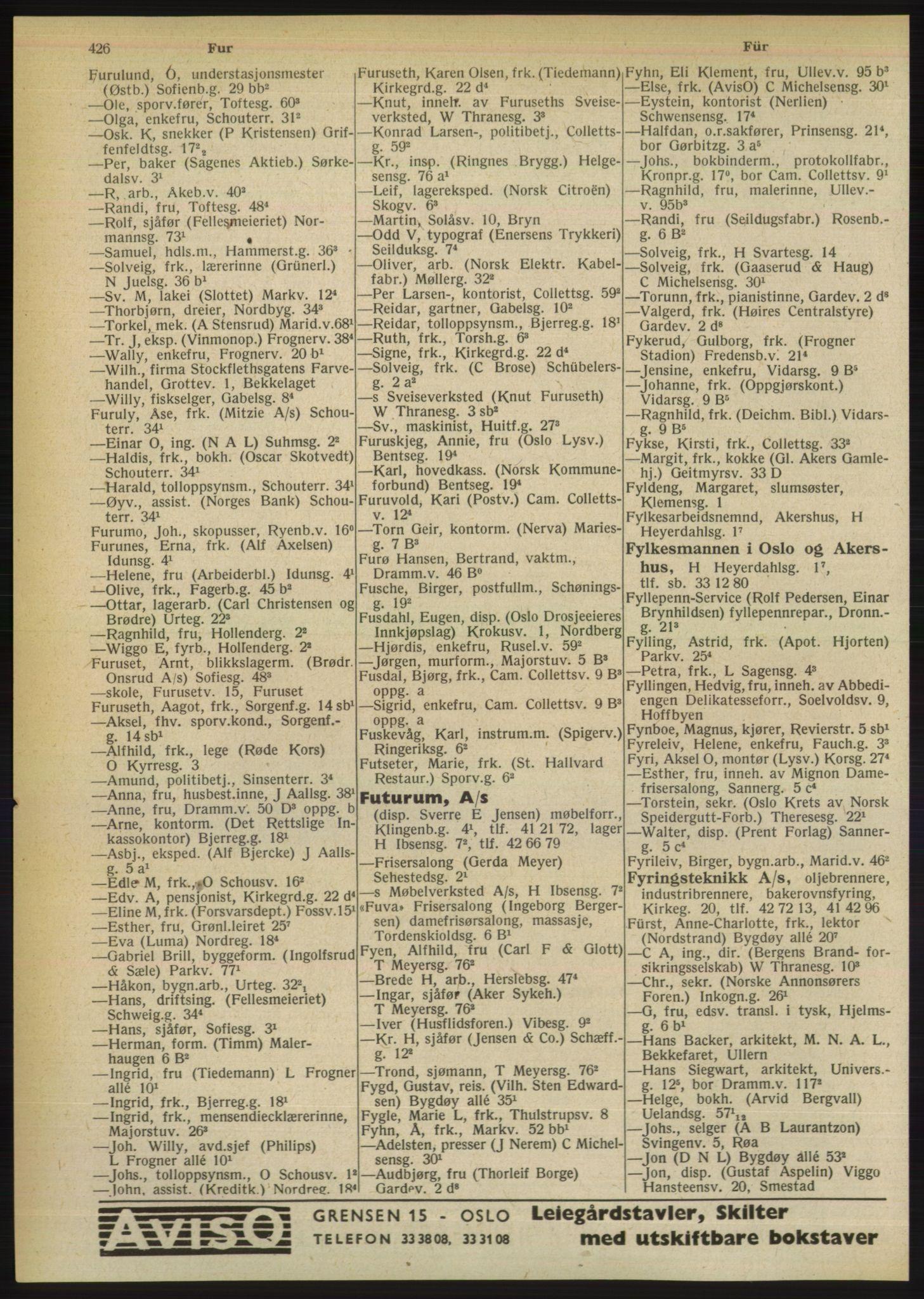PUBL, Kristiania/Oslo adressebok, 1949, p. 426