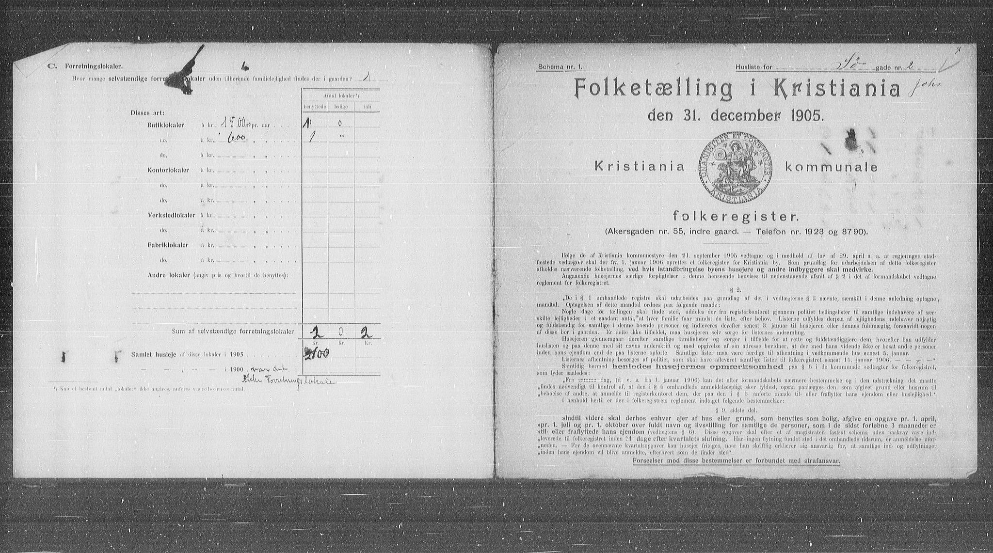 OBA, Municipal Census 1905 for Kristiania, 1905, p. 55525