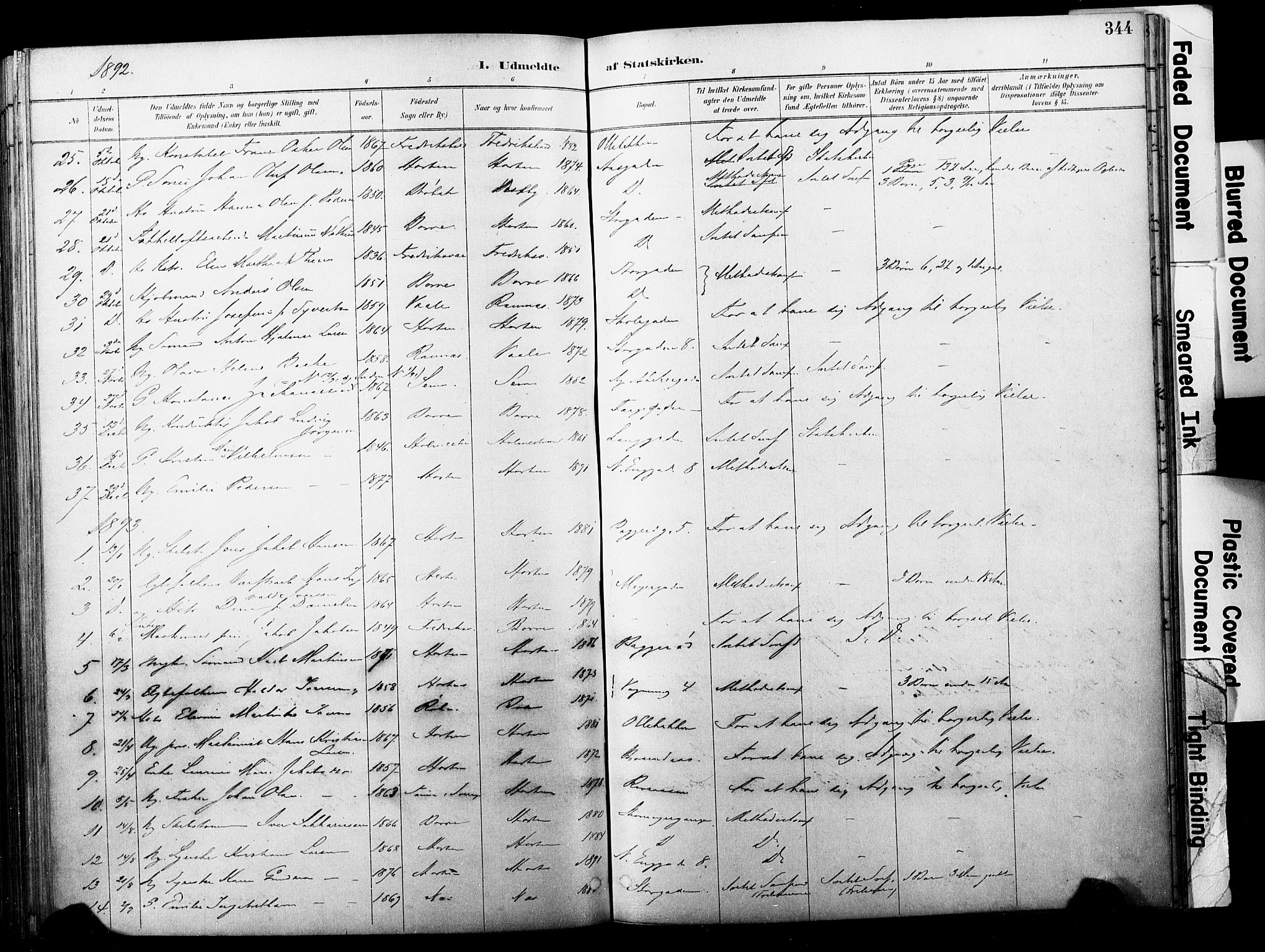 SAKO, Horten kirkebøker, F/Fa/L0004: Parish register (official) no. 4, 1888-1895, p. 344