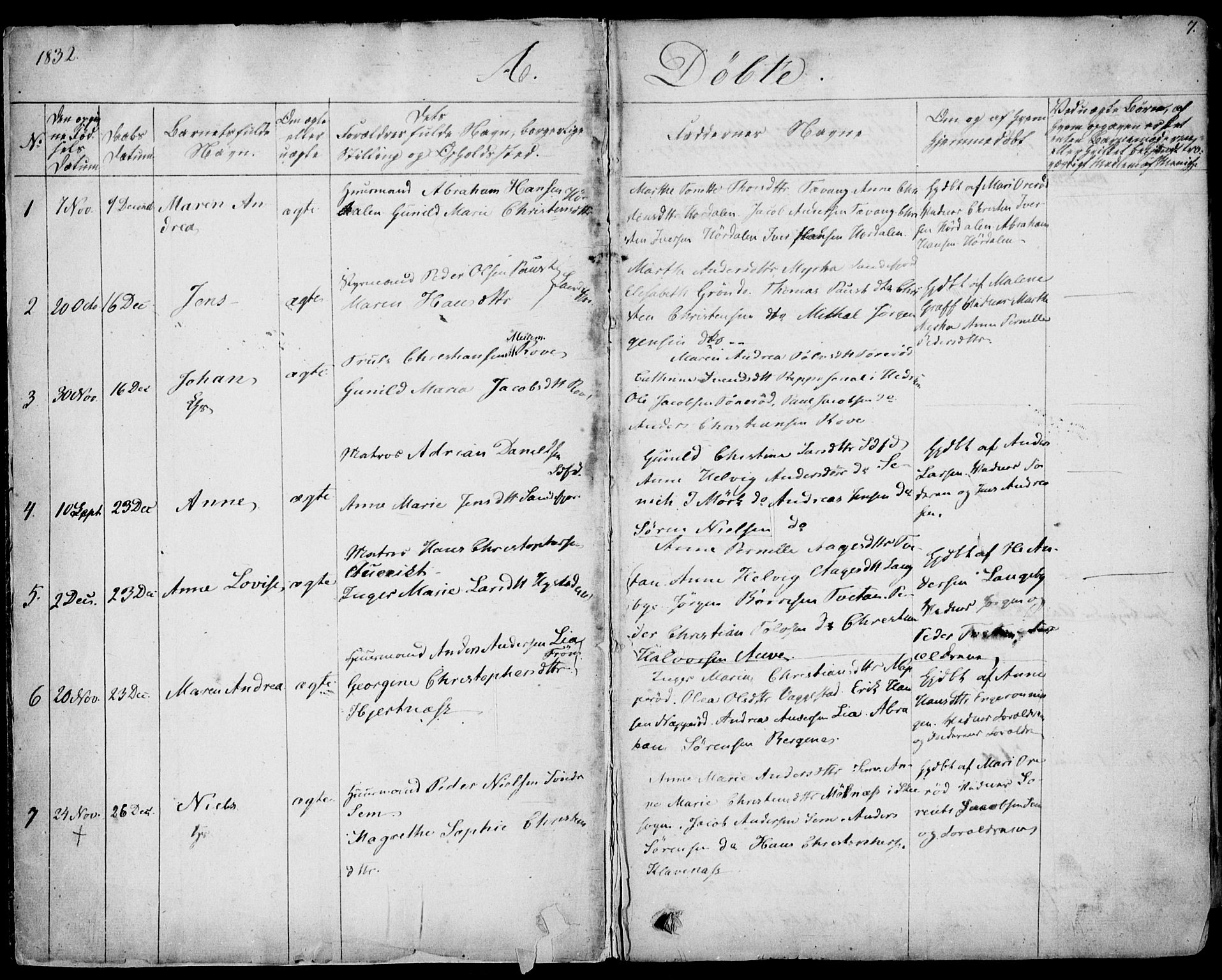 SAKO, Sandar kirkebøker, F/Fa/L0005: Parish register (official) no. 5, 1832-1847, p. 6-7
