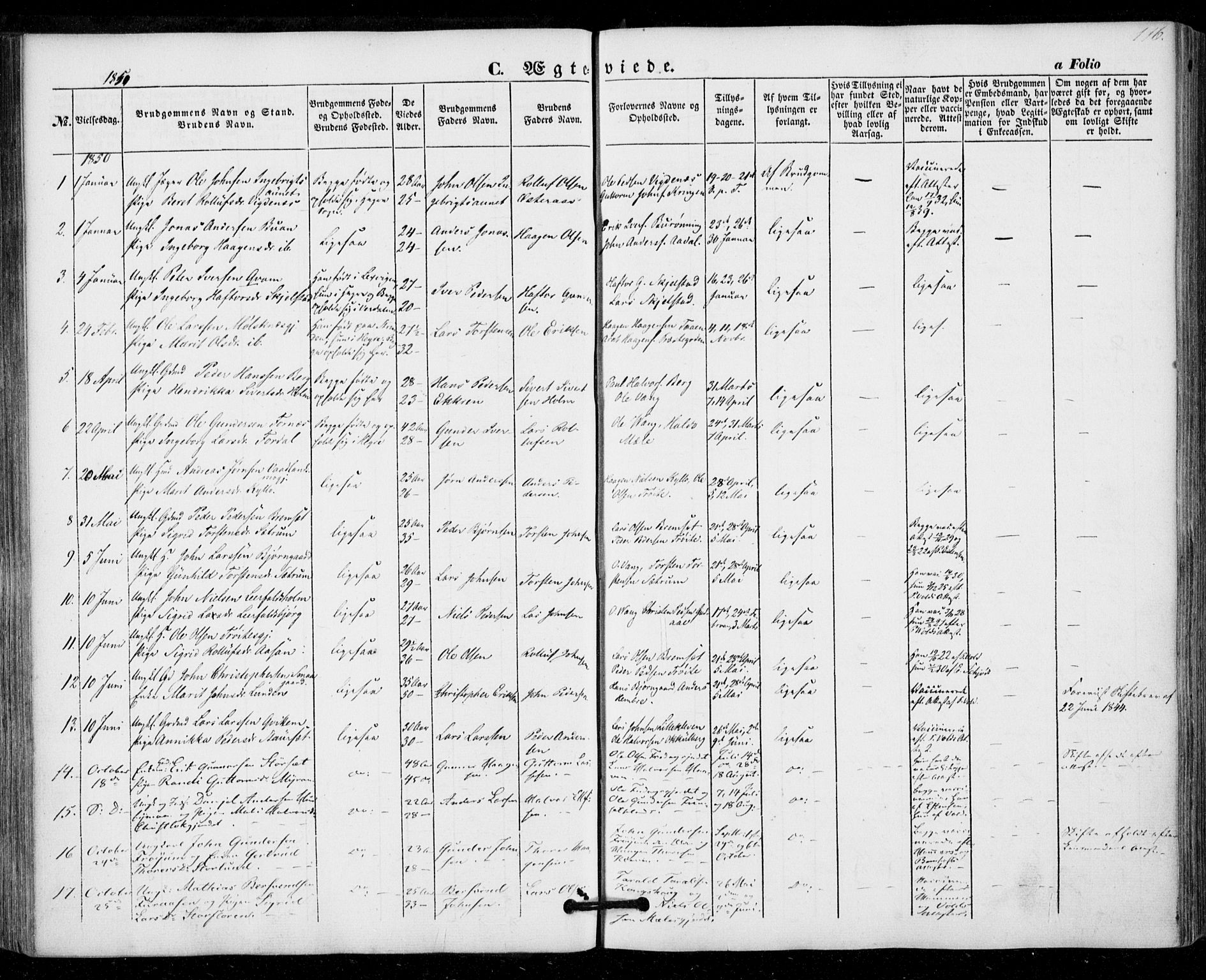 SAT, Ministerialprotokoller, klokkerbøker og fødselsregistre - Nord-Trøndelag, 703/L0028: Parish register (official) no. 703A01, 1850-1862, p. 116