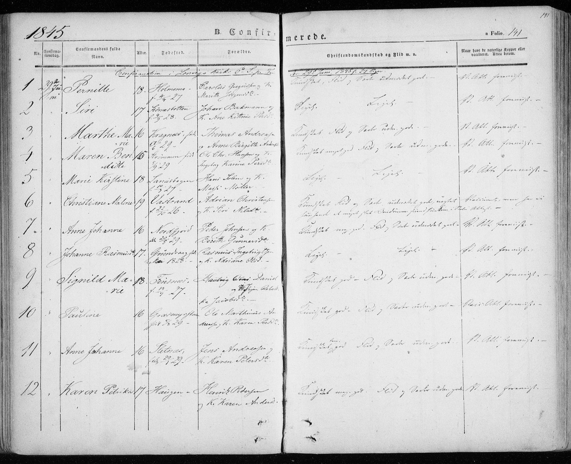 SATØ, Lenvik sokneprestembete, H/Ha: Parish register (official) no. 6, 1845-1854, p. 141