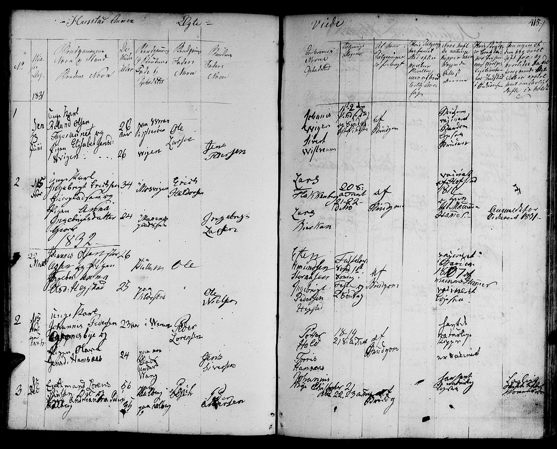 SAT, Ministerialprotokoller, klokkerbøker og fødselsregistre - Nord-Trøndelag, 730/L0277: Parish register (official) no. 730A06 /3, 1830-1839, p. 415