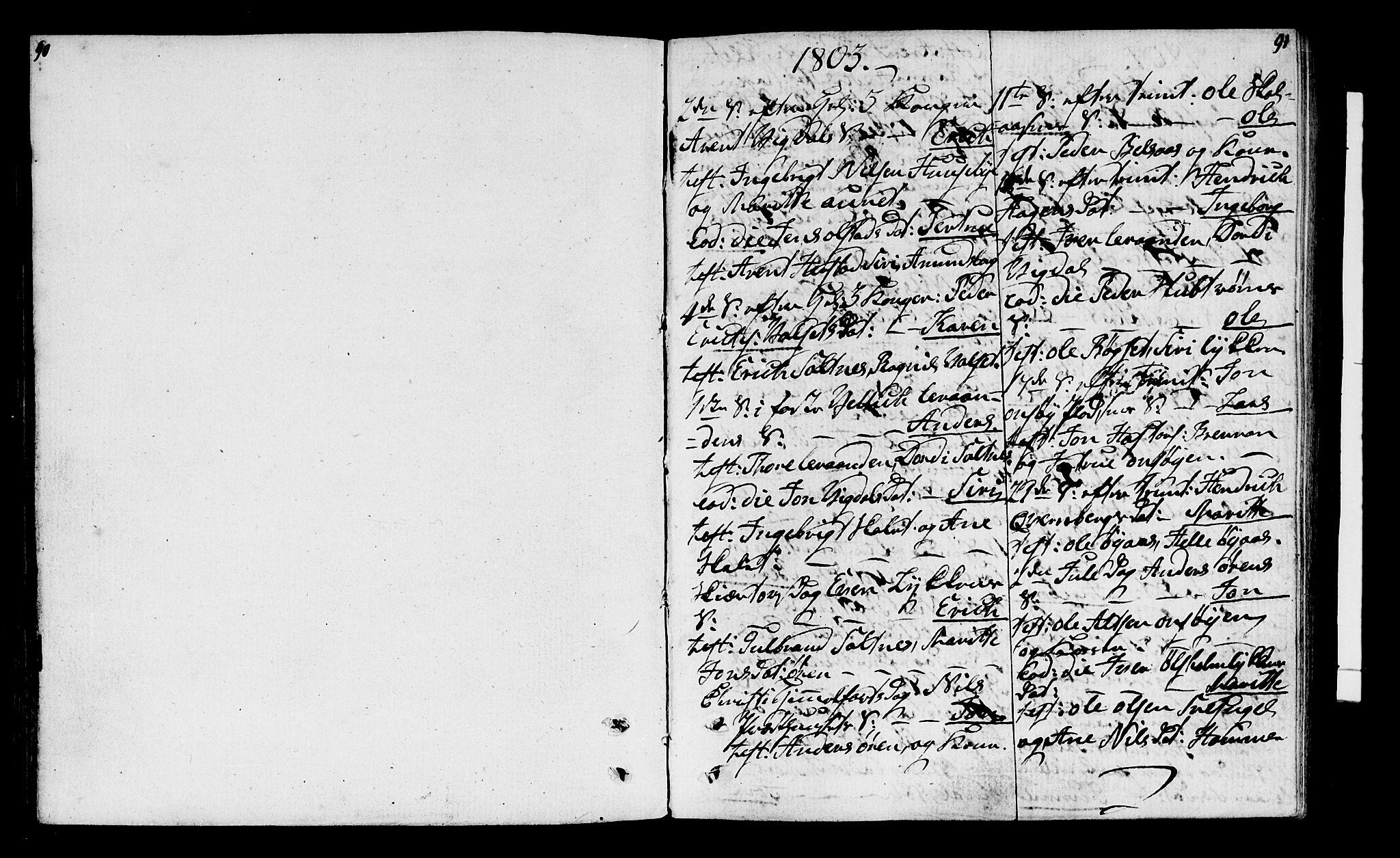 SAT, Ministerialprotokoller, klokkerbøker og fødselsregistre - Sør-Trøndelag, 666/L0785: Parish register (official) no. 666A03, 1803-1816, p. 90-91