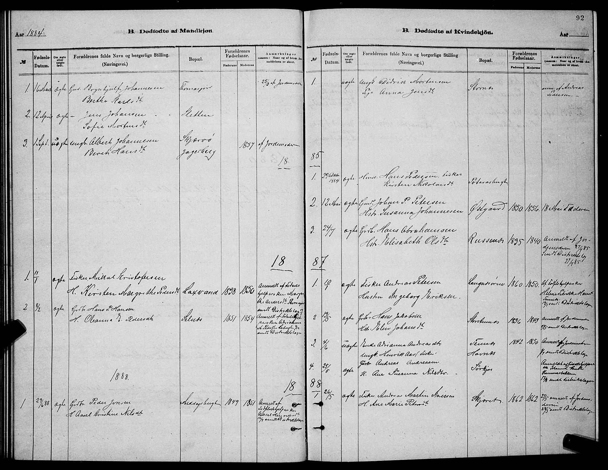 SATØ, Balsfjord sokneprestembete, Parish register (copy) no. 7, 1878-1889, p. 92