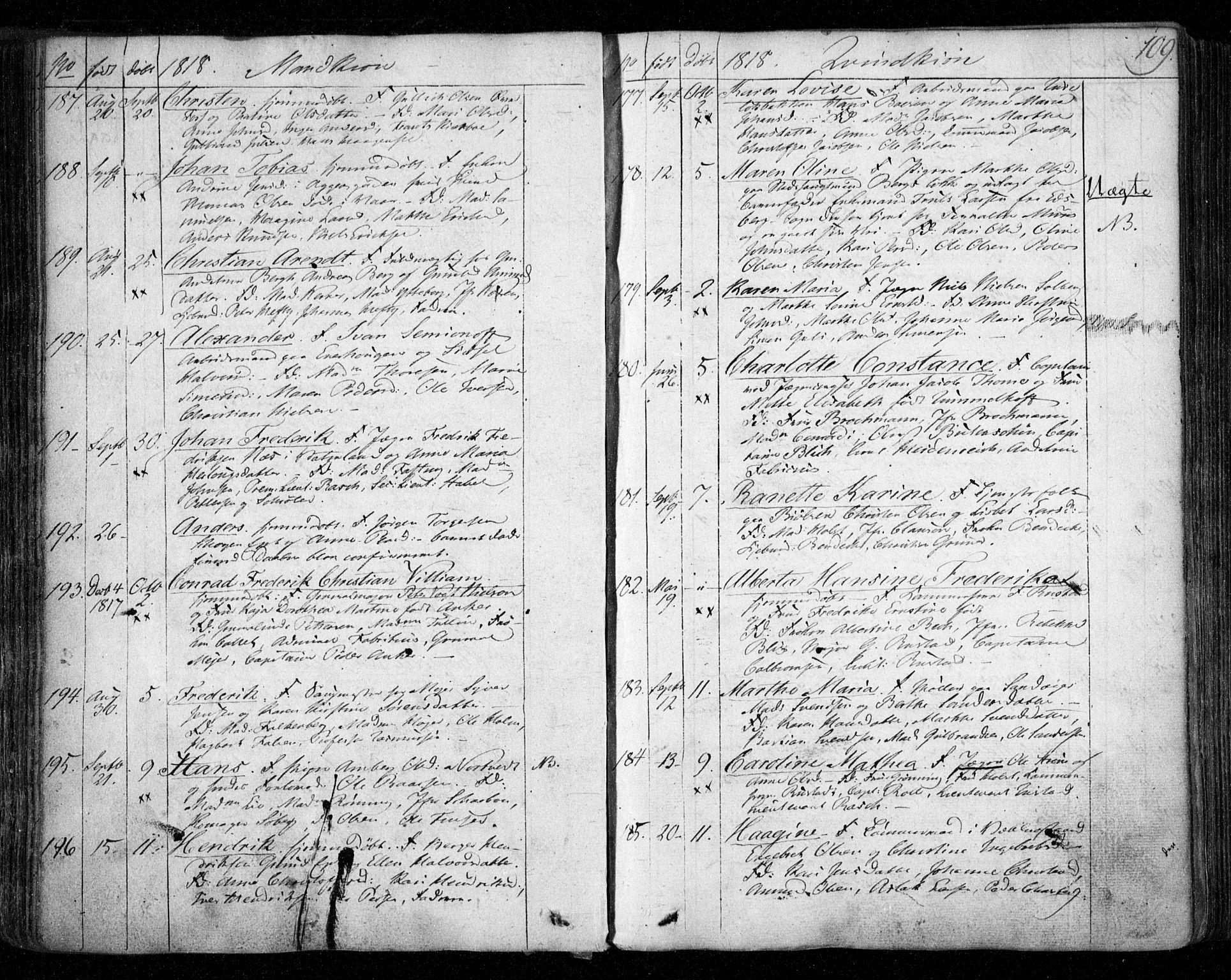 SAO, Aker prestekontor kirkebøker, F/L0011: Parish register (official) no. 11, 1810-1819, p. 109
