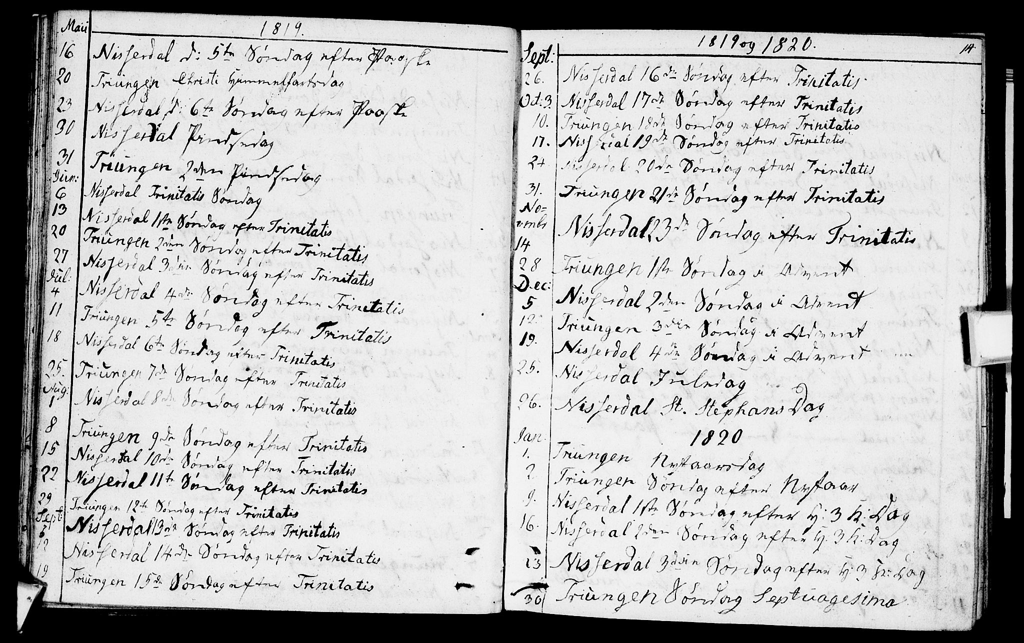 SAKO, Nissedal kirkebøker, F/Fa/L0001: Parish register (official) no. I 1, 1811-1814, p. 14