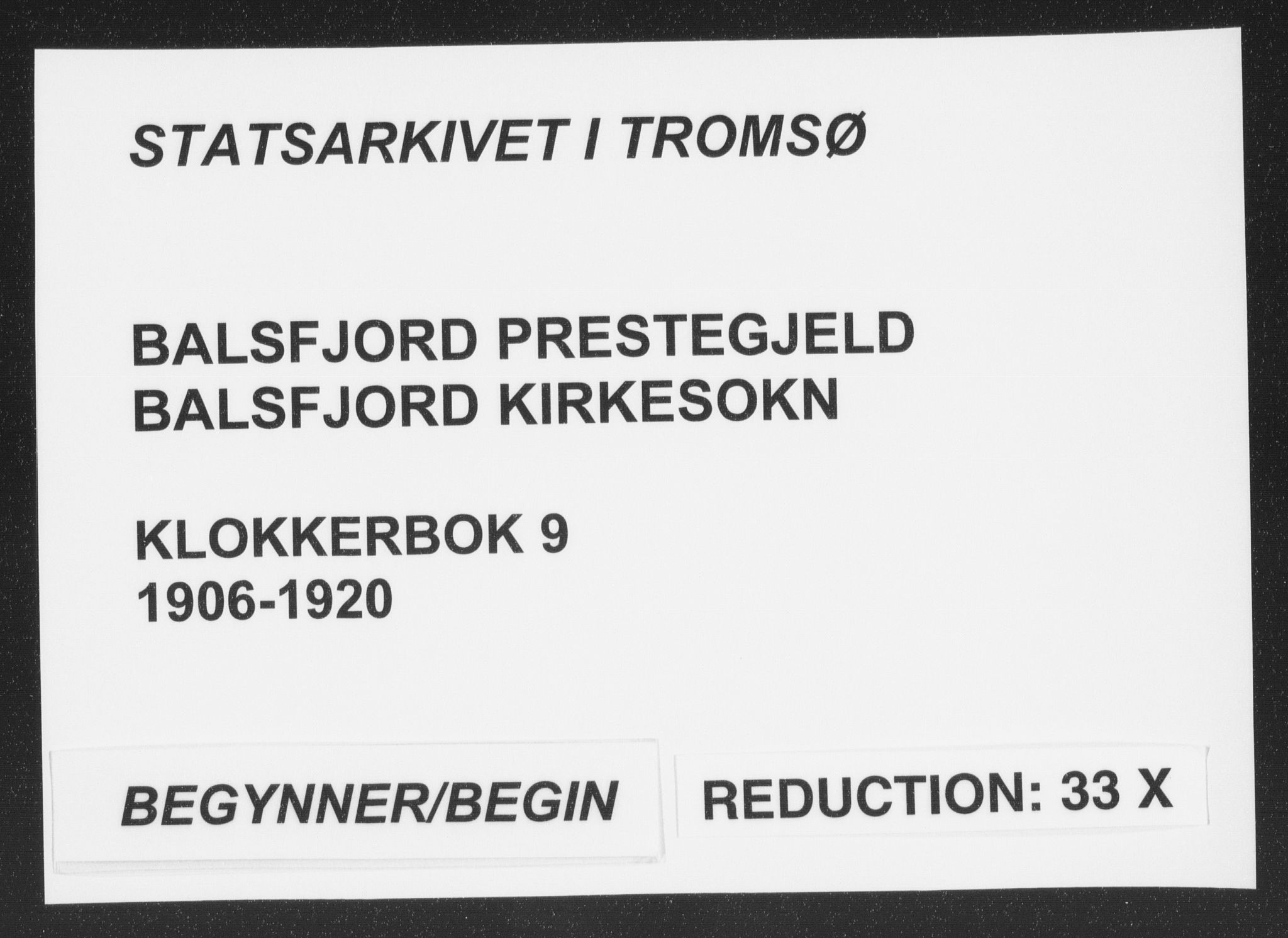SATØ, Balsfjord sokneprestembete, Parish register (copy) no. 9, 1906-1920