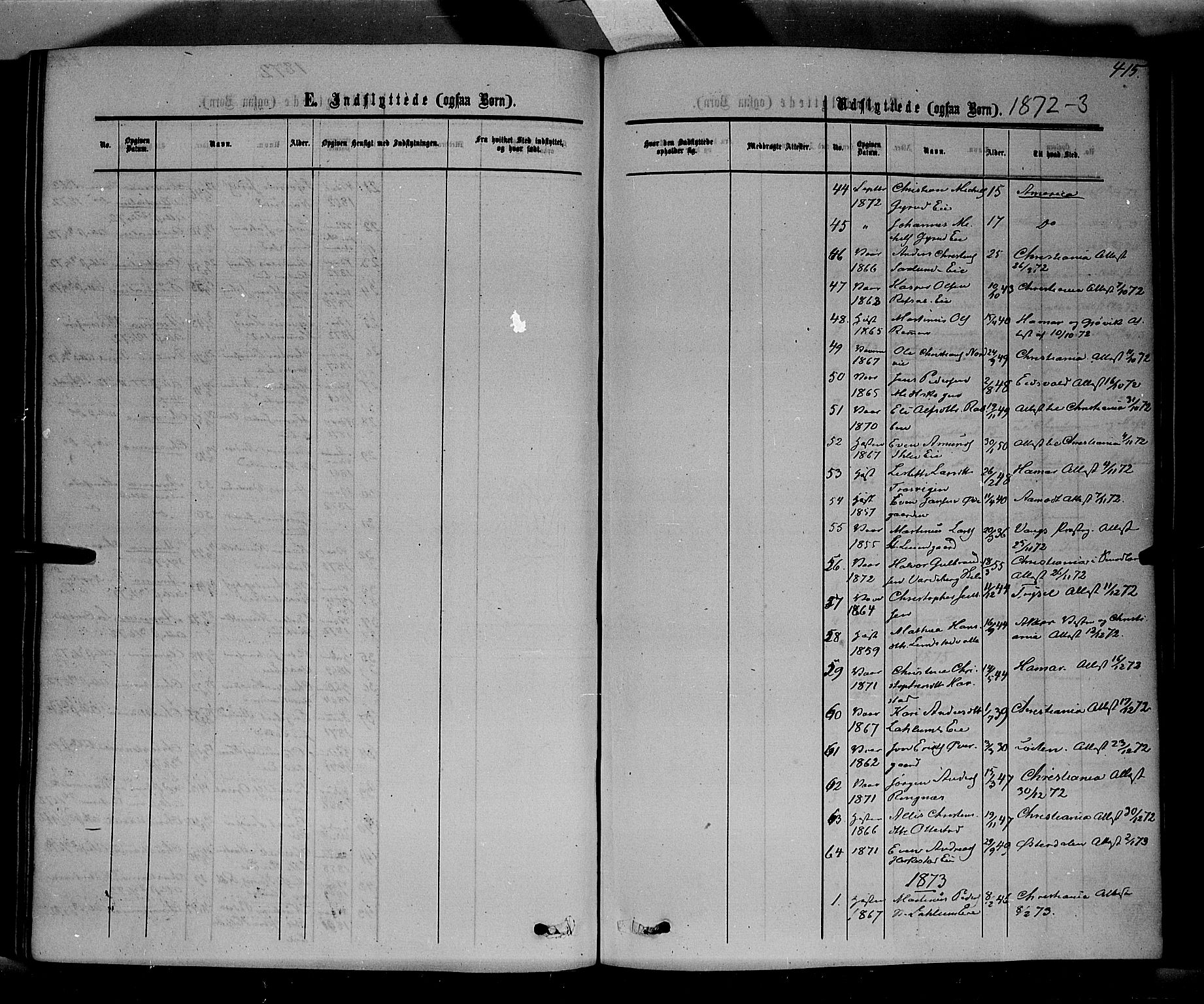 SAH, Stange prestekontor, K/L0013: Parish register (official) no. 13, 1862-1879, p. 415