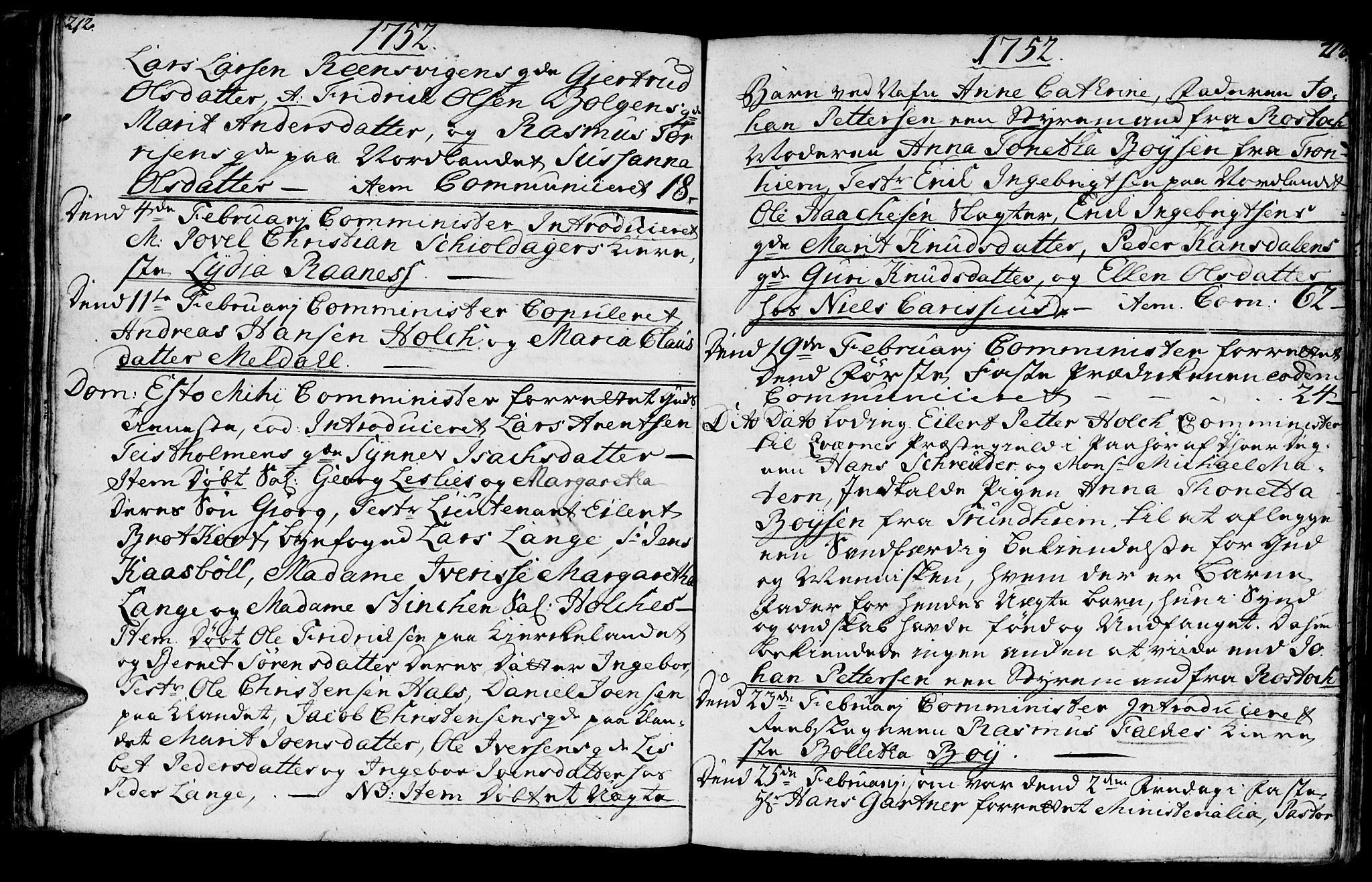 SAT, Ministerialprotokoller, klokkerbøker og fødselsregistre - Møre og Romsdal, 572/L0839: Parish register (official) no. 572A02, 1739-1754, p. 212-213