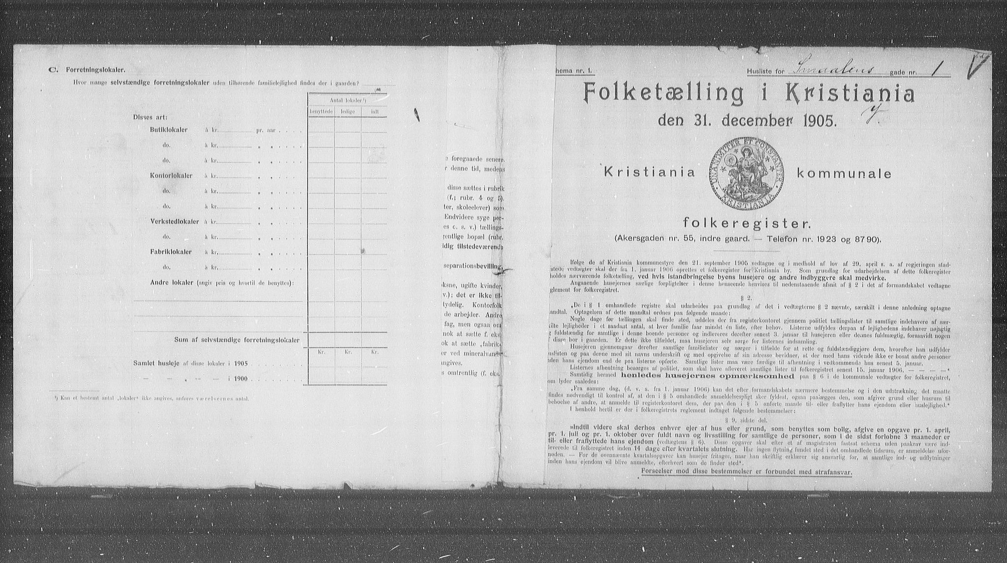 OBA, Municipal Census 1905 for Kristiania, 1905, p. 50692