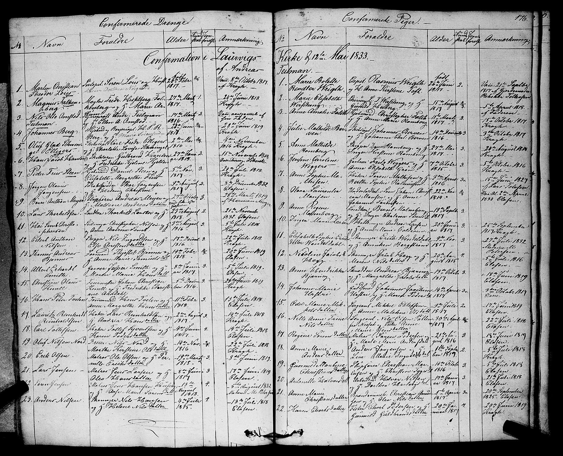 SAKO, Larvik kirkebøker, F/Fa/L0002: Parish register (official) no. I 2, 1825-1847, p. 176