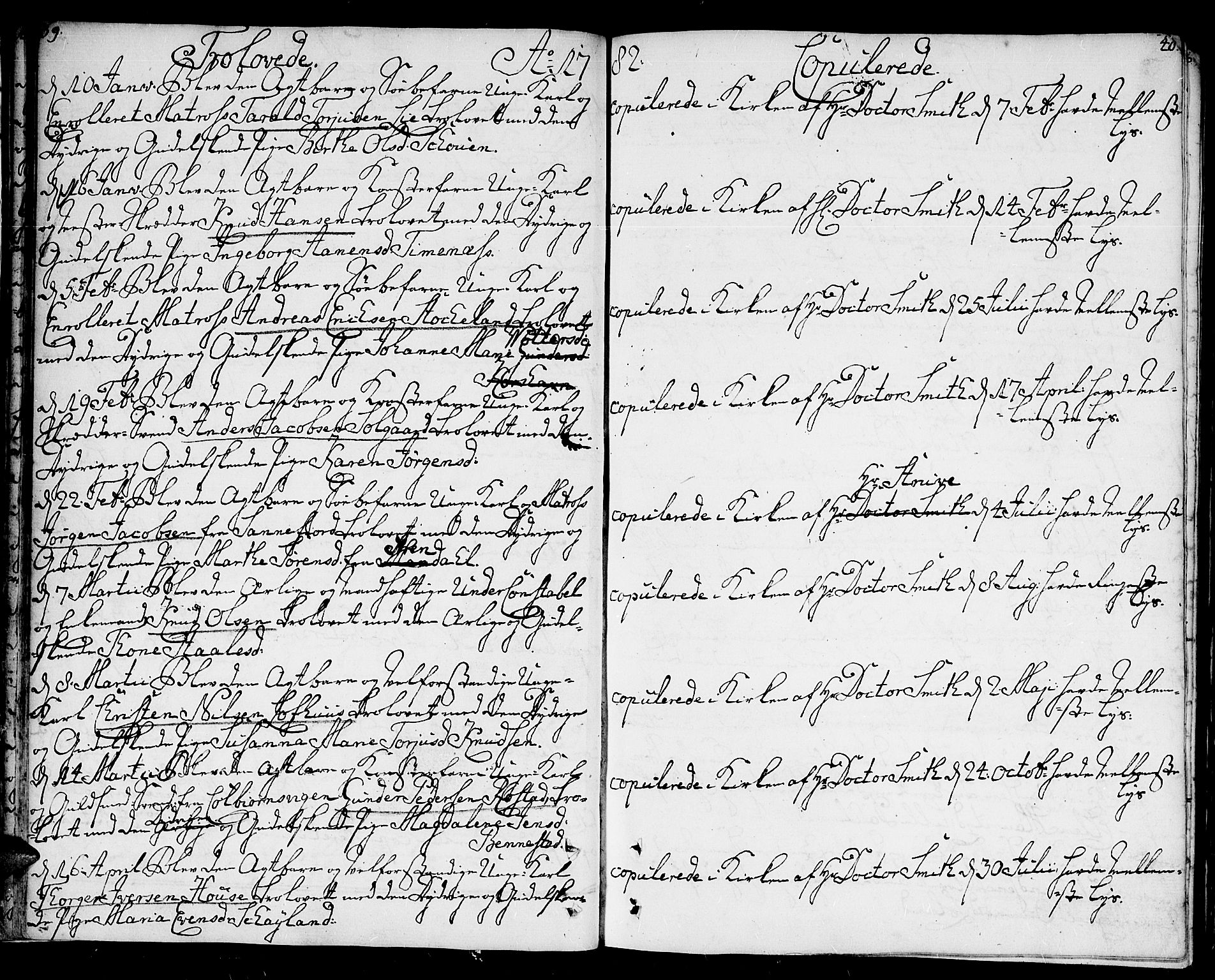 SAK, Kristiansand domprosti, F/Fa/L0005: Parish register (official) no. A 5, 1776-1818, p. 39-40