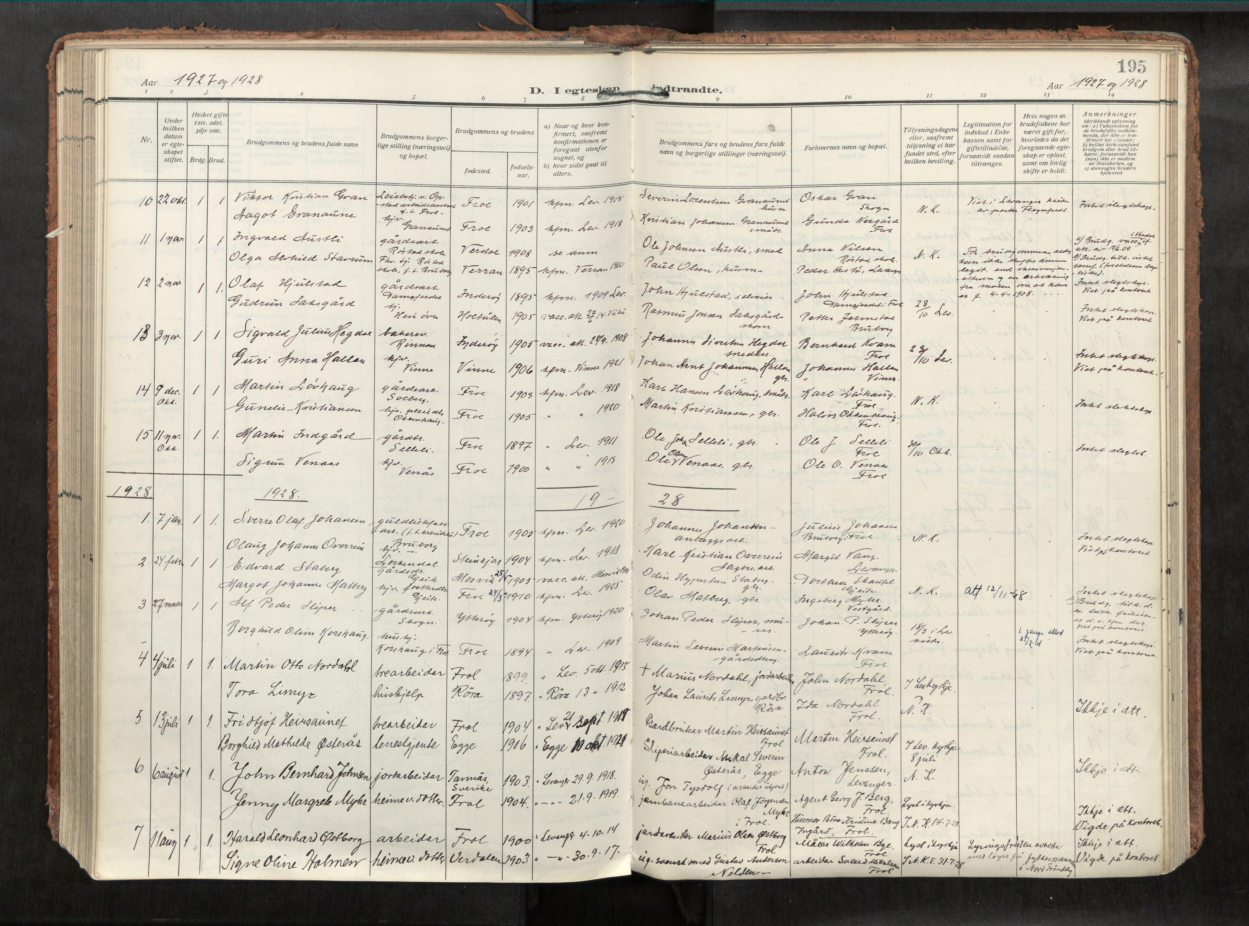 SAT, Levanger sokneprestkontor*, Parish register (official) no. 1, 1912-1935, p. 195