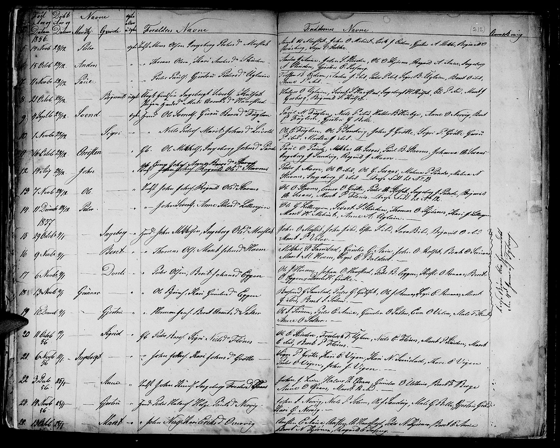 SAT, Ministerialprotokoller, klokkerbøker og fødselsregistre - Sør-Trøndelag, 695/L1154: Parish register (copy) no. 695C05, 1842-1858, p. 212