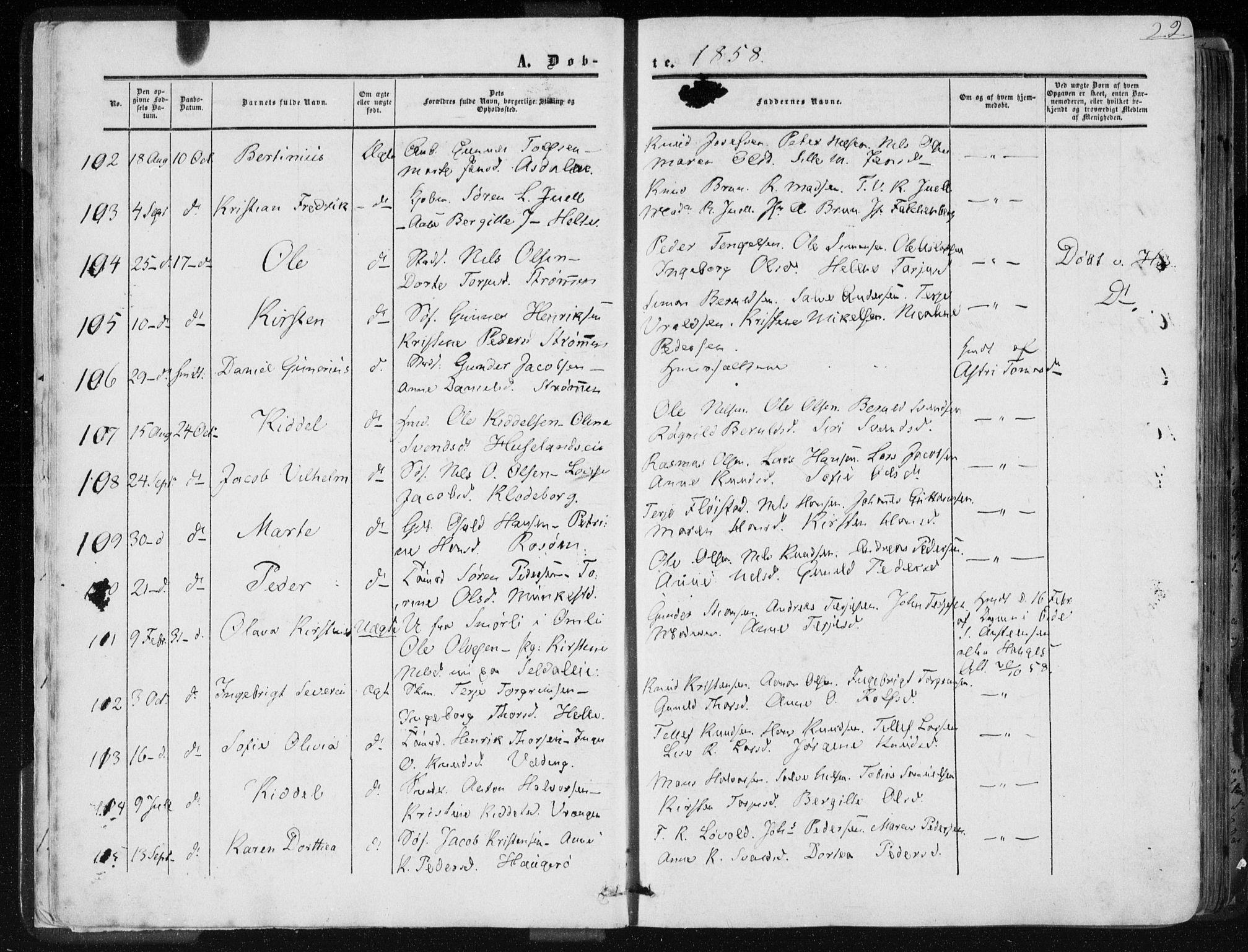 SAK, Øyestad sokneprestkontor, F/Fa/L0015: Parish register (official) no. A 15, 1857-1873, p. 22