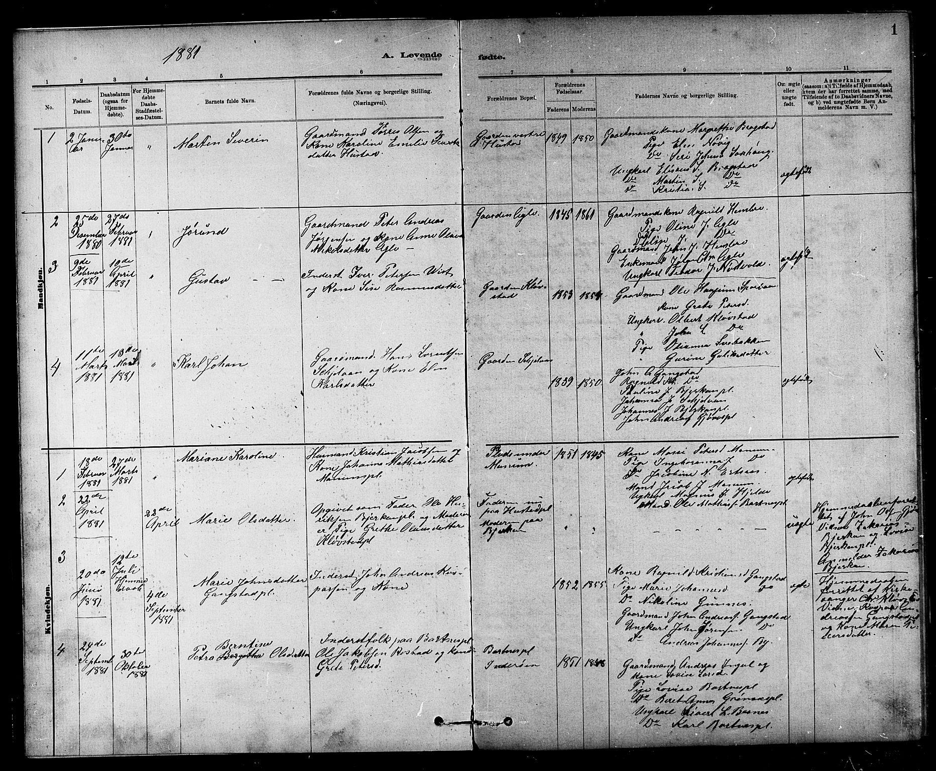 SAT, Ministerialprotokoller, klokkerbøker og fødselsregistre - Nord-Trøndelag, 732/L0318: Parish register (copy) no. 732C02, 1881-1911, p. 1