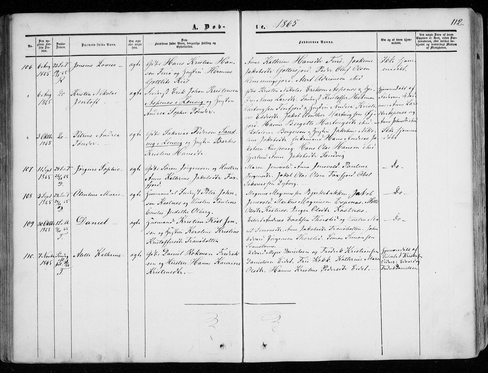 SATØ, Tranøy sokneprestkontor, I/Ia/Iaa/L0007kirke: Parish register (official) no. 7, 1856-1866, p. 112